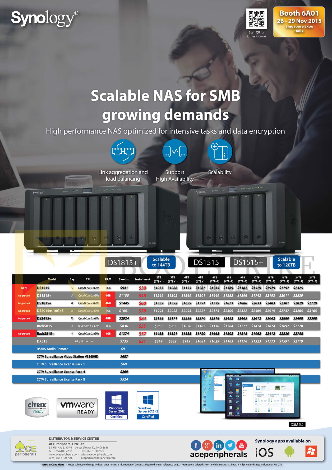 SITEX 2015 price list image brochure of Ace Peripherals Synology NAS DS1515 DS1515Plus DS1815Plus DS2015xs DS2415PPlus RS214 RS815 DX213 DX513
