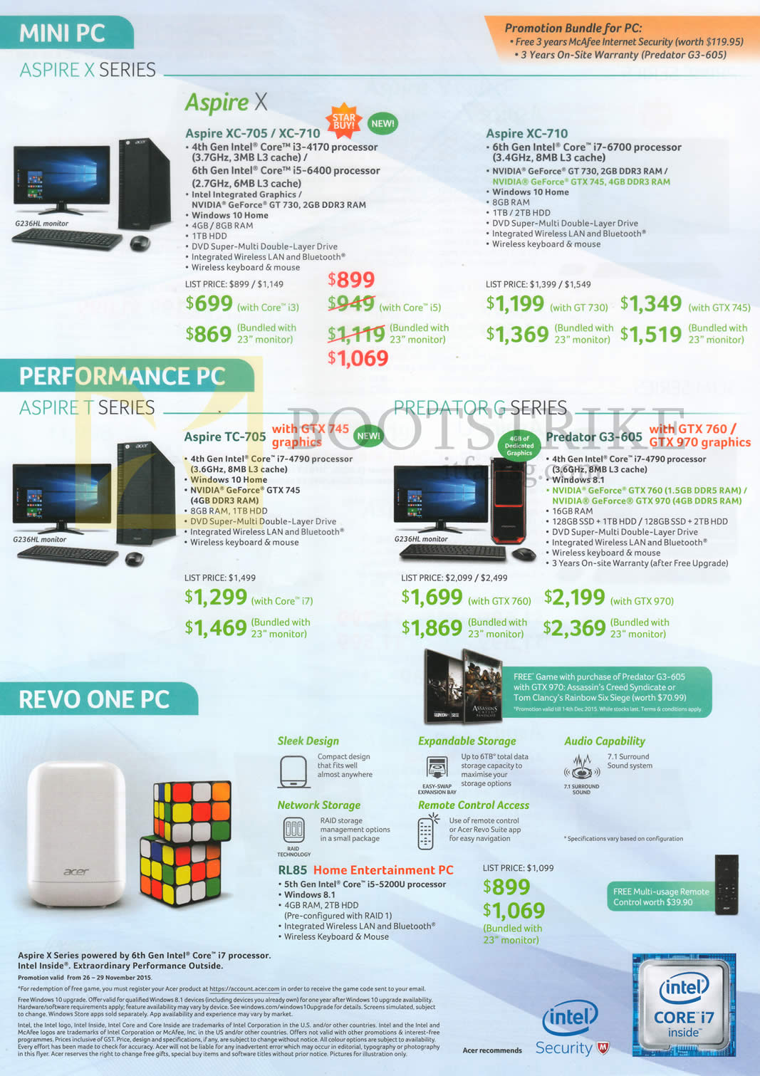 SITEX 2015 price list image brochure of Acer Desktop PCs Aspire XC705, XC-710, TC-705, Predator G3-605, RL85