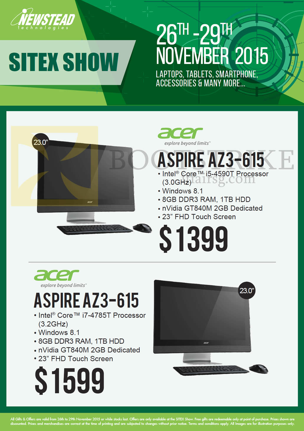 SITEX 2015 price list image brochure of Acer Newstead AIO Desktop PCs, Aspire AZ3-615, Aspire AZ3-615