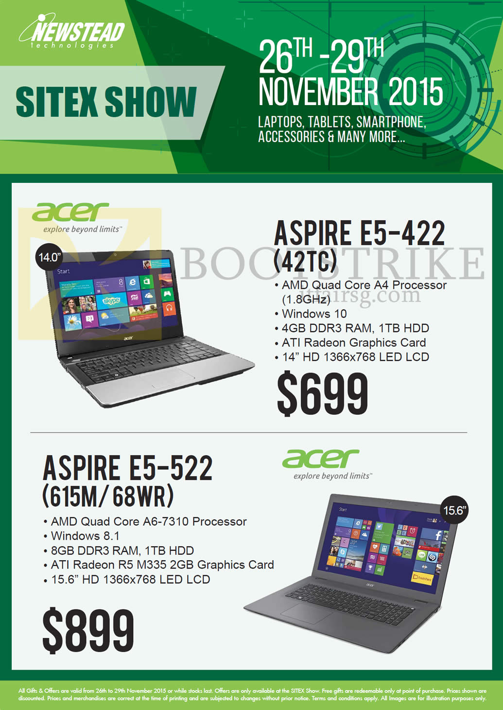 SITEX 2015 price list image brochure of Acer Newstead Notebooks Aspire, E5-422 (42TC), E5-522 (615M 68WR)