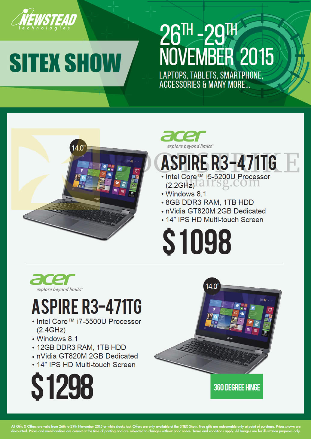 SITEX 2015 price list image brochure of Acer Newstead Notebooks Aspire, R3-471TG, R3-471TG
