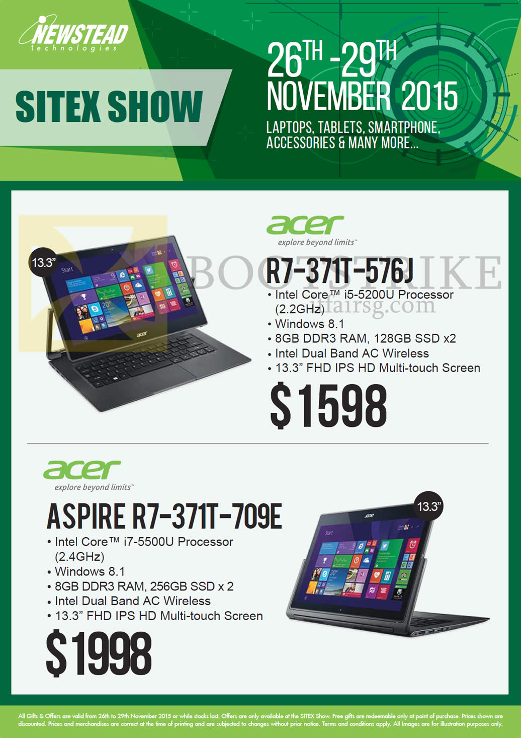 SITEX 2015 price list image brochure of Acer Newstead Notebooks Aspire, R7-371T-576J, R7-371T-709E