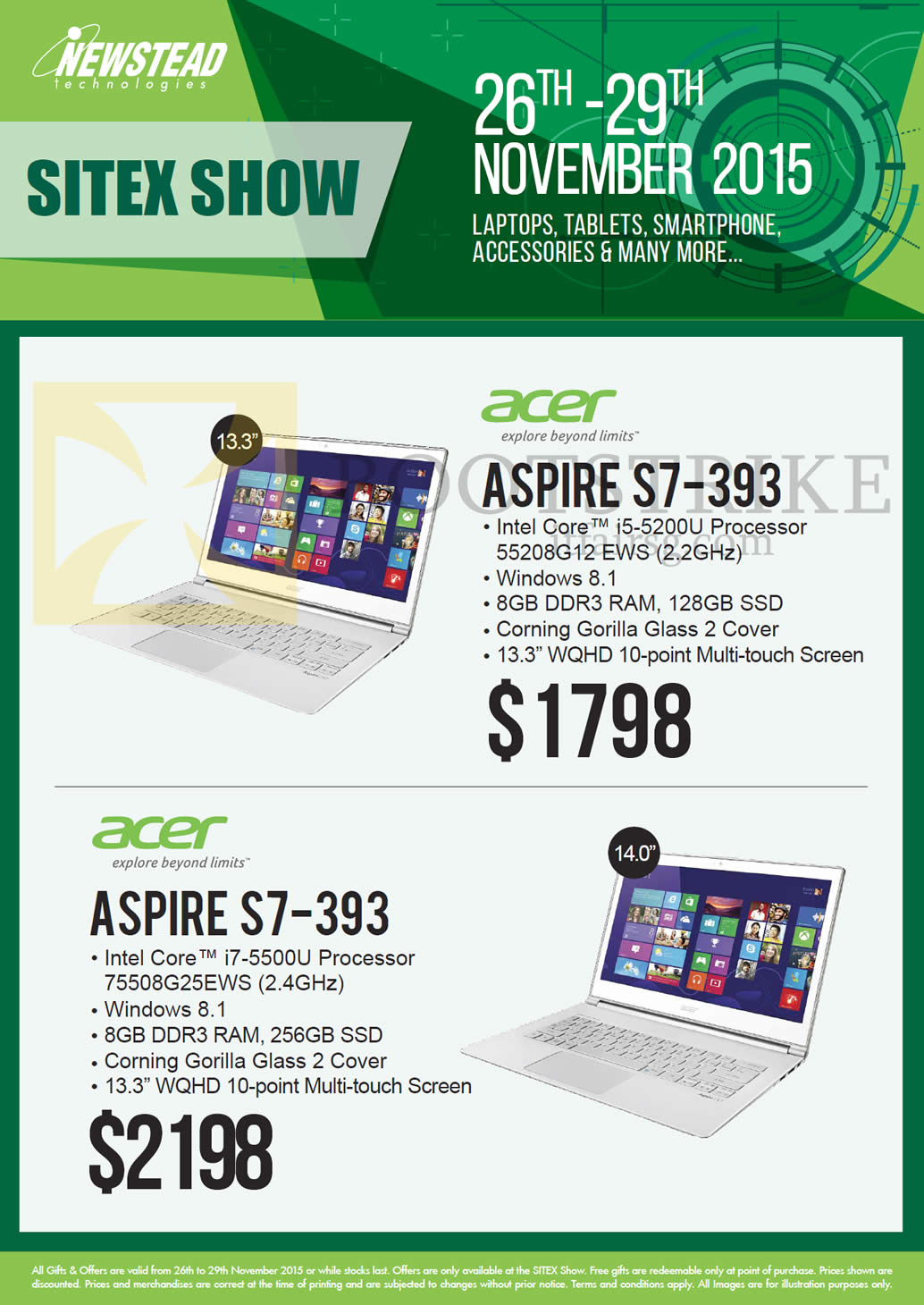 SITEX 2015 price list image brochure of Acer Newstead Notebooks Aspire, S7-393 5200U, 5500U