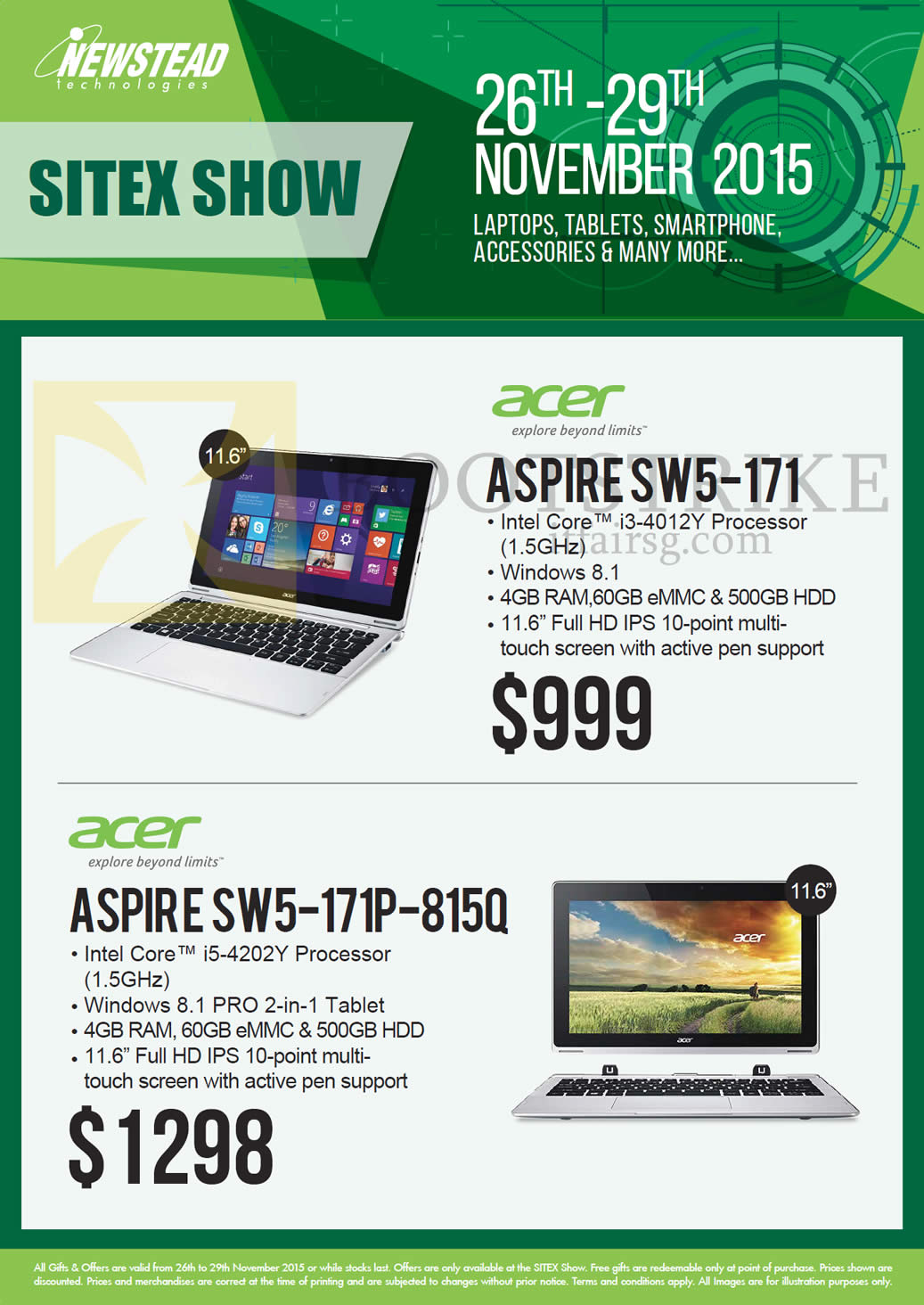 SITEX 2015 price list image brochure of Acer Newstead Notebooks Aspire, SW5-171, SW5-171P-815Q