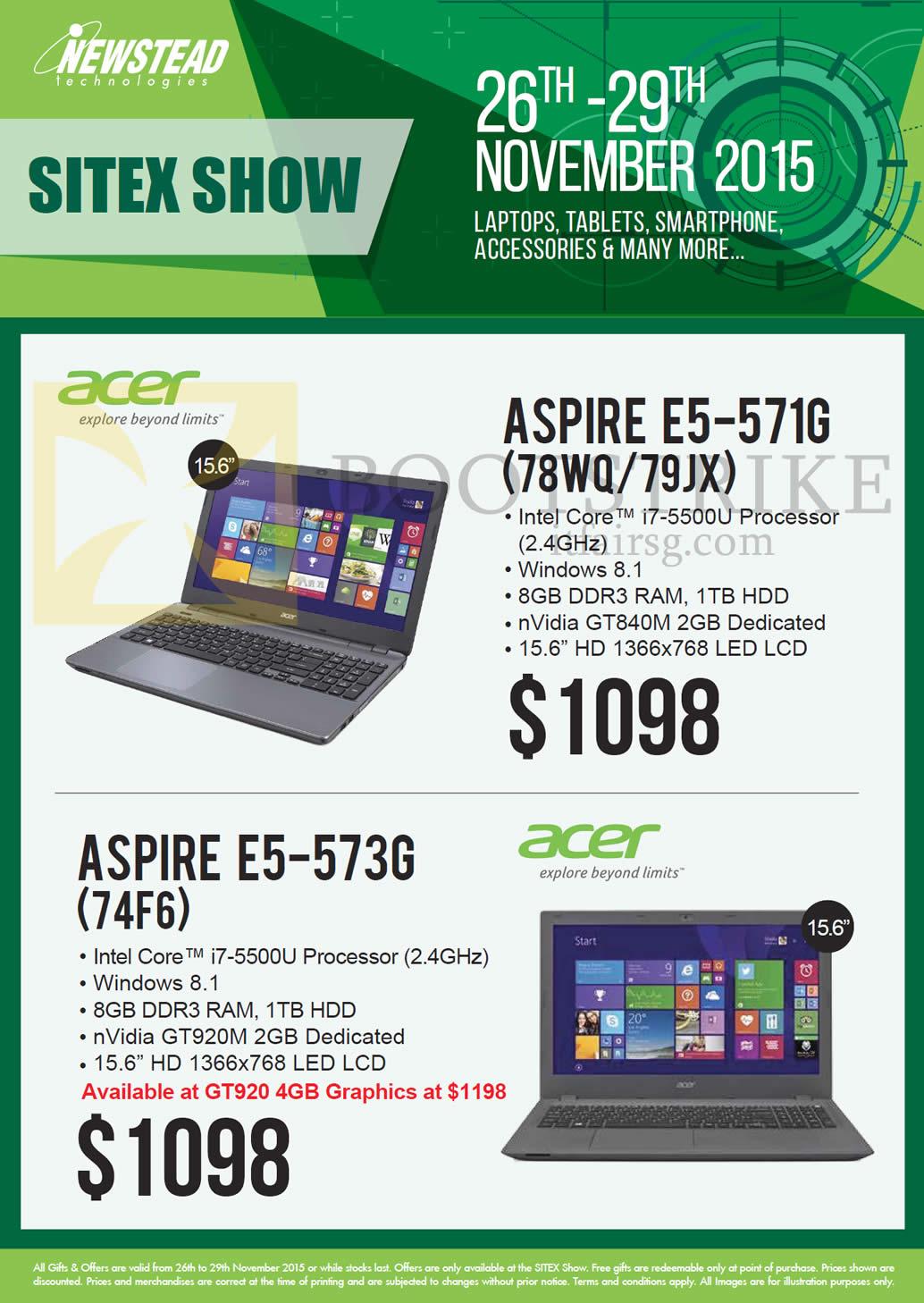 SITEX 2015 price list image brochure of Acer Newstead Notebooks, Aspire E5-571G (78WQ79JX), E5-573G (74F6)