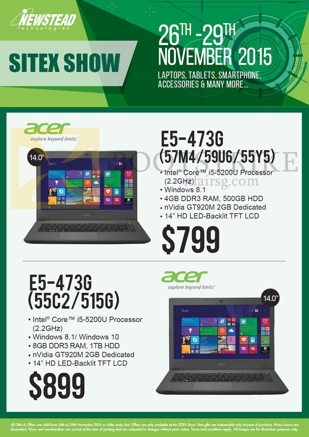 SITEX 2015 price list image brochure of Acer Newstead Notebooks, E5-473G (57M4 59U6 55Y5), E5-473G (55C2 515G)