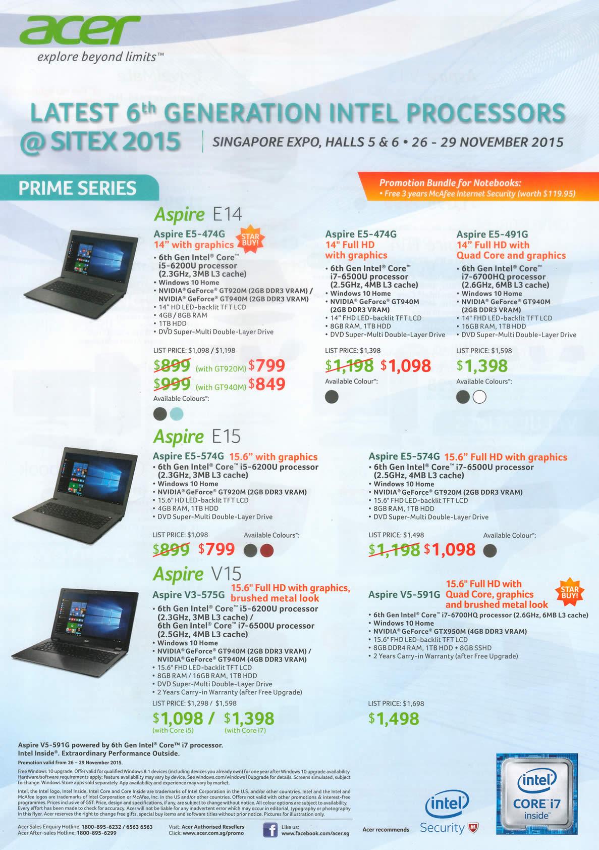 SITEX 2015 price list image brochure of Acer Notebooks Aspire E14, E5-474G, E5-474G, E5-491G, Aspire E15, E5-574G, E5-574G, Aspire V15, V3-575G, V5-591G