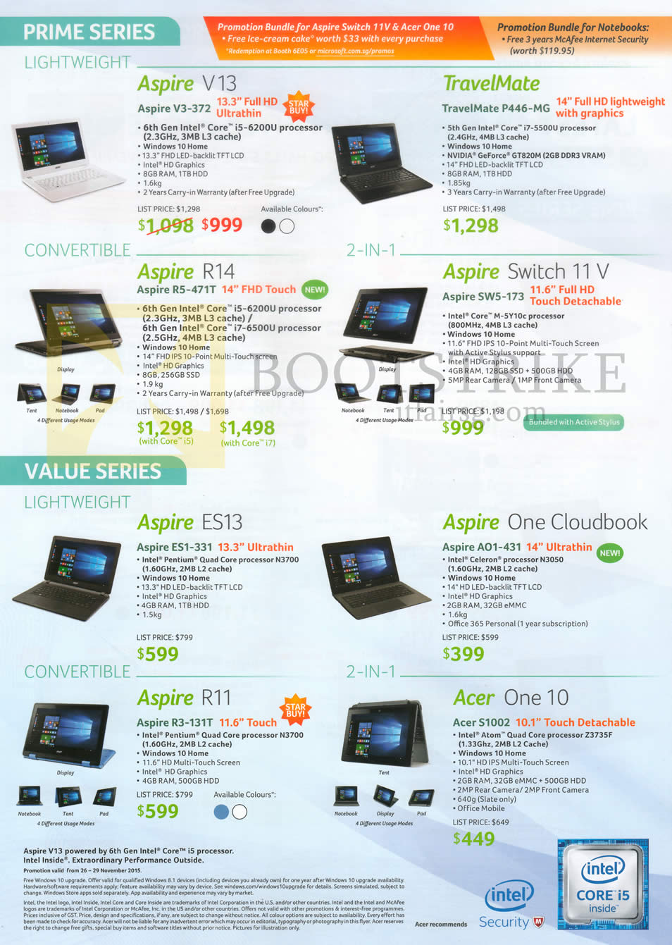 SITEX 2015 price list image brochure of Acer Notebooks Prime Series, Aspire V3-372, TravelMate P446-MG, R5-471T, Switch 11 V, SW5-173, Aspire ES1-331, One Cloudbook, A01-431, R11, R3-131T, One 10, S1002