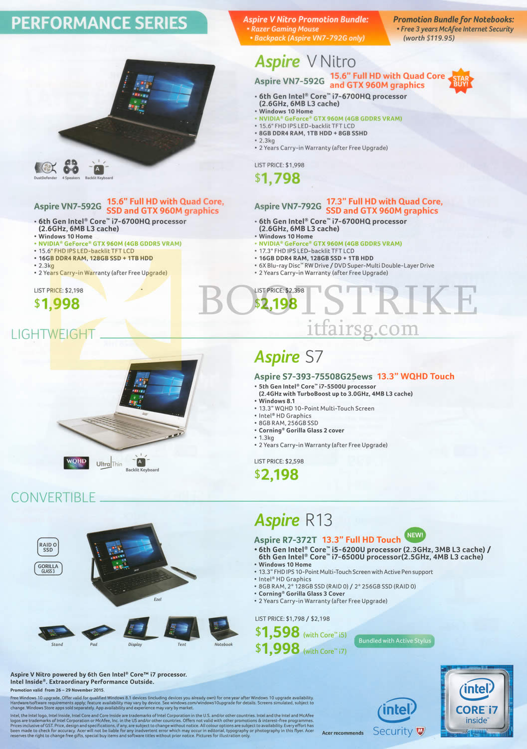 SITEX 2015 price list image brochure of Acer Notebooks V Nitro VN7-592G, VN7-792G, S7-393-75508G25ews, R7-372T