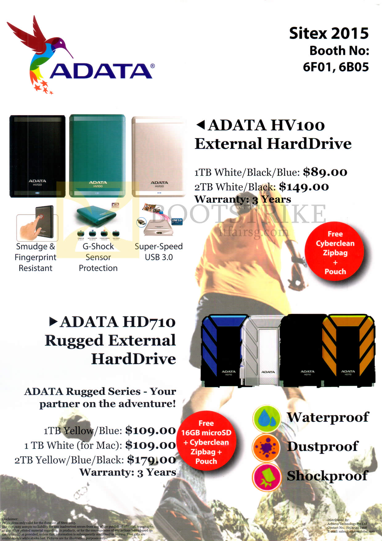 SITEX 2015 price list image brochure of Adata HV100, HD710 External Hard Drive