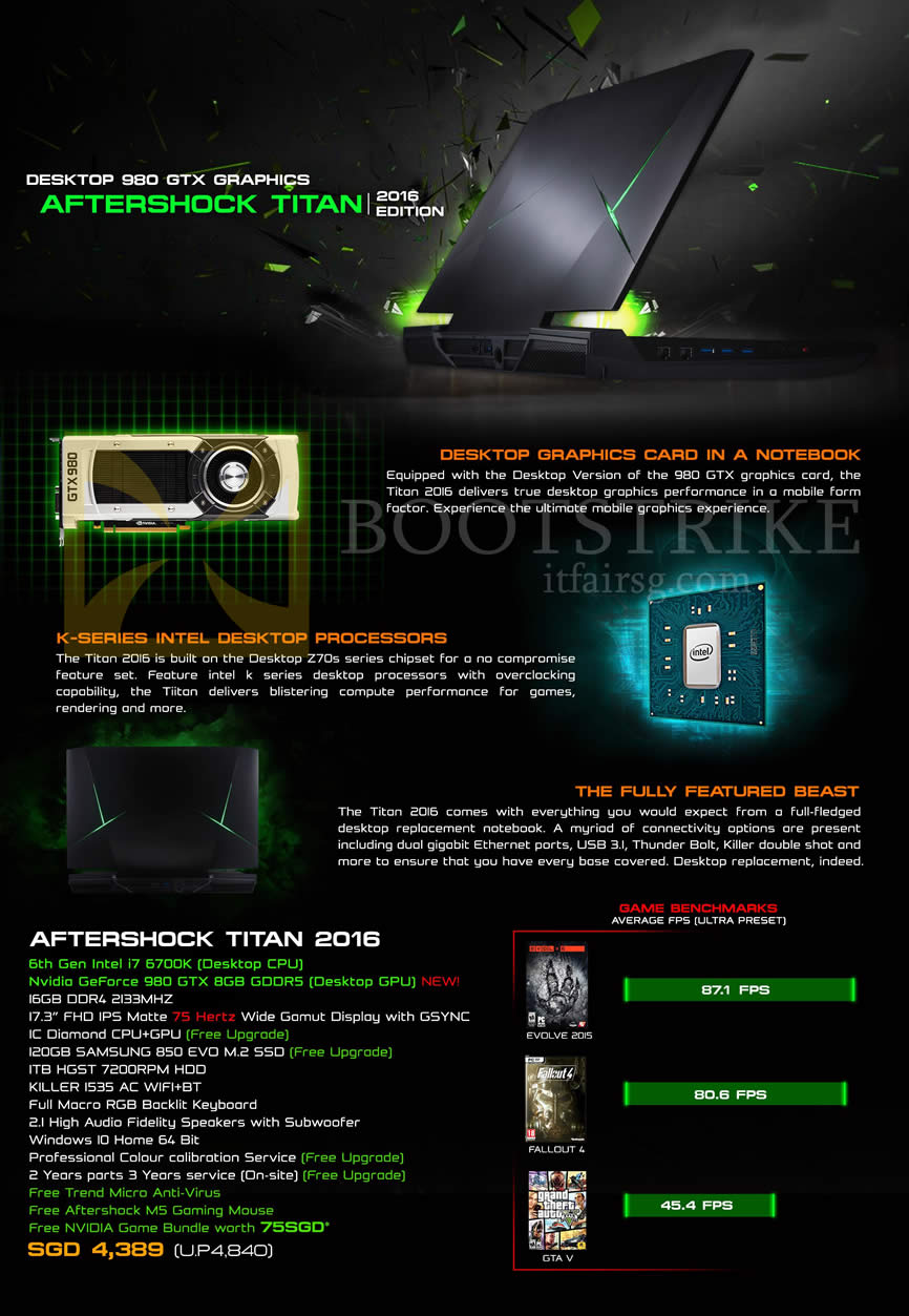 SITEX 2015 price list image brochure of Aftershock Notebook Titan 2016 Features