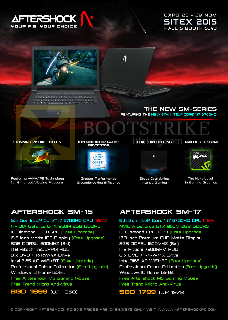 SITEX 2015 price list image brochure of Aftershock Notebooks SM-15, SM-17