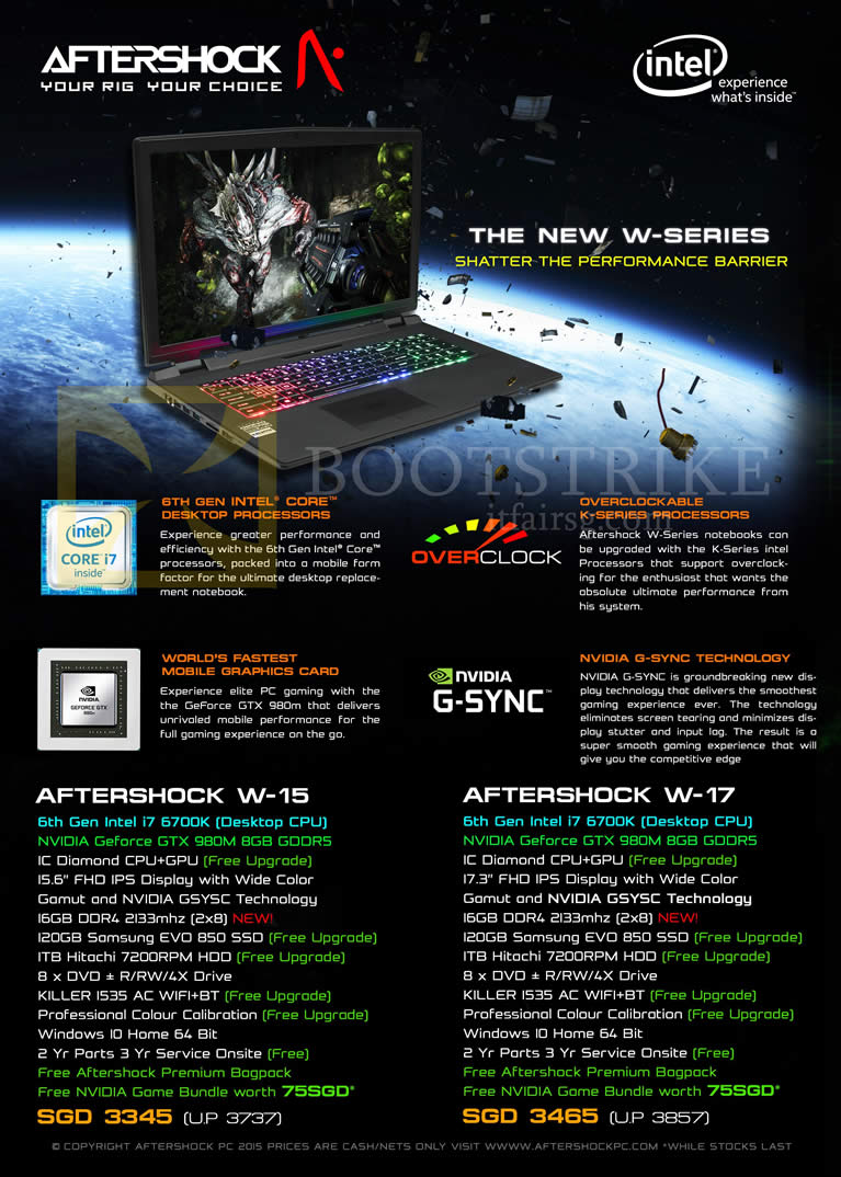 SITEX 2015 price list image brochure of Aftershock Notebooks W-15, W-17