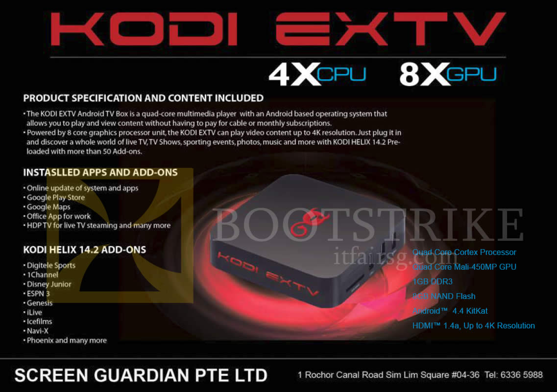 SITEX 2015 price list image brochure of Amconics Kodi EXTV Android TV Box Apps N Add-Ons