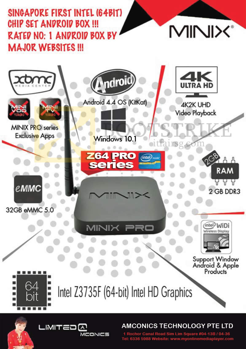 SITEX 2015 price list image brochure of Amconics Minix Pro Series Android Box