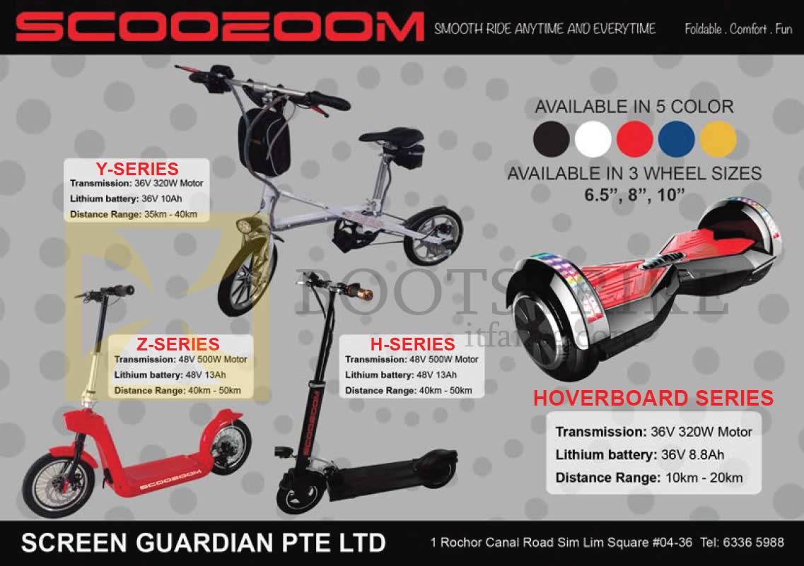 SITEX 2015 price list image brochure of Amconics Scooeoom H Series, Y, Z, Hoverboard Series