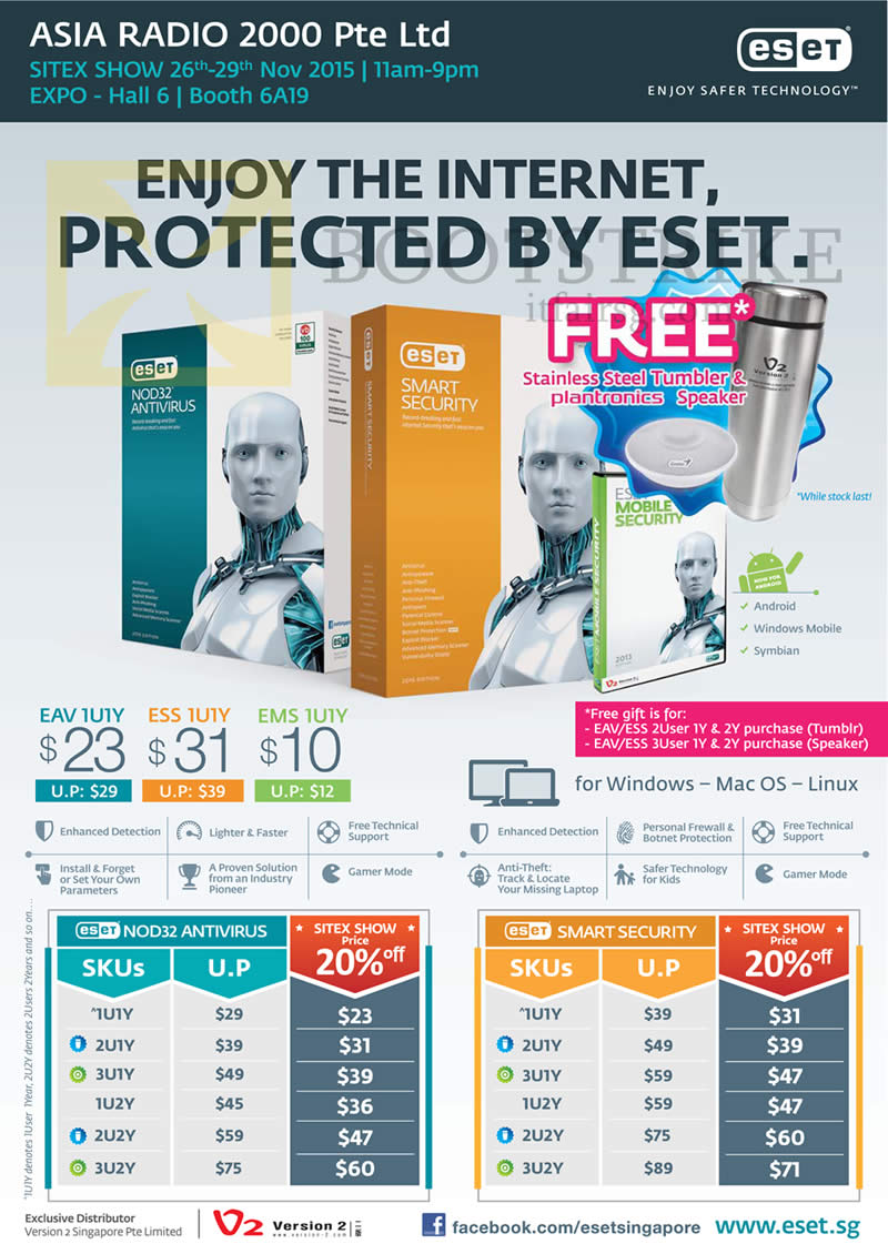 SITEX 2015 price list image brochure of Asia Radio ESET Smart Security, Nod32 Antivirus