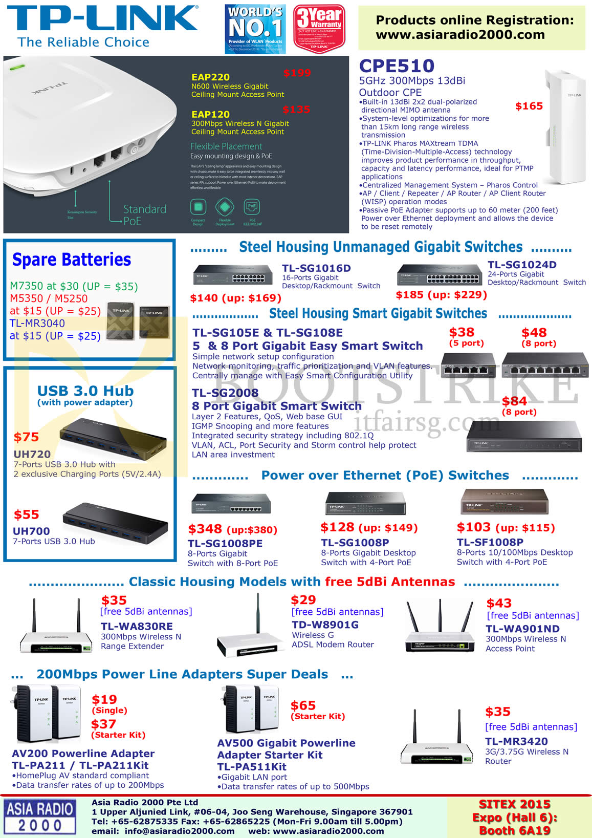 SITEX 2015 price list image brochure of Asia Radio TP-Link Networking Gigabit Switches, CPE510, TL-SG1016D, SG1024D, SG105E, 108E, 2008, 1008PE, 1008P, SF1008P, WA830RE, W8901G, AV200, AV500, TL-MR3420