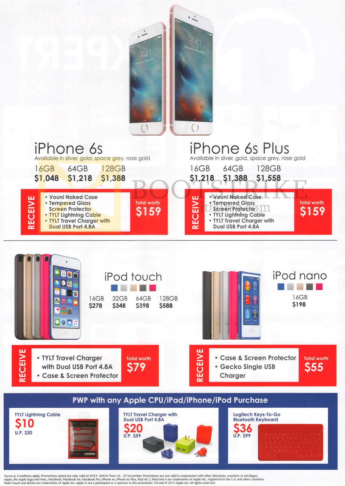 SITEX 2015 price list image brochure of Best Denki Apple IPhone 6s, 6s Plus, IPod Touch, IPod Nano, 16GB, 32GB, 64GB, 128GB, Purchase With Purchase Items
