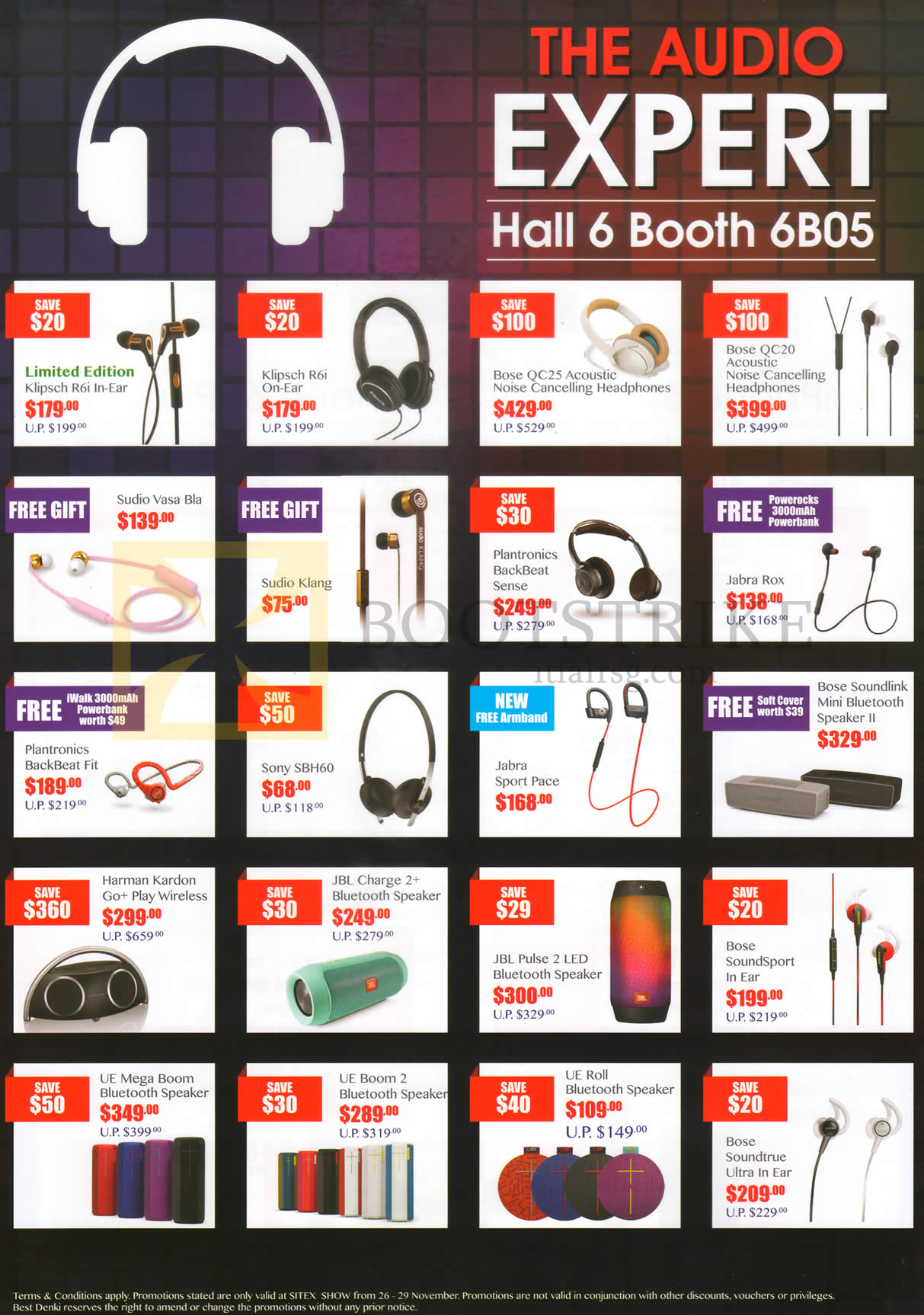 SITEX 2015 price list image brochure of Best Denki Earphones, Headphones, Mobile Phone, Bluetooth Speakers, UE Roll, Bose, Harman Kardon, Sony, Jabra, Plantronics