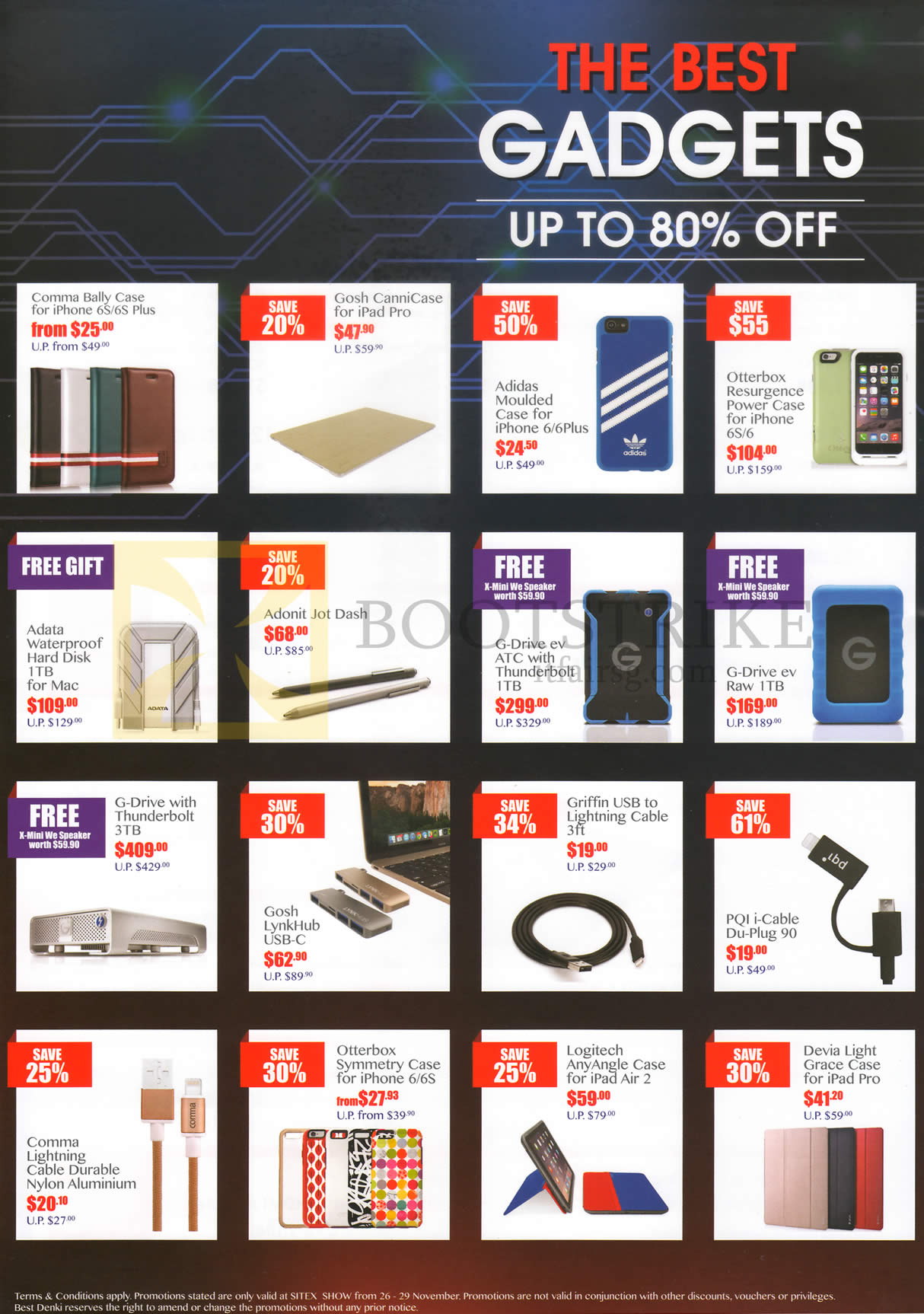 SITEX 2015 price list image brochure of Best Denki Gadgets Accessories Cases, Hard Disk, Lightining Cable, Any Angle Case