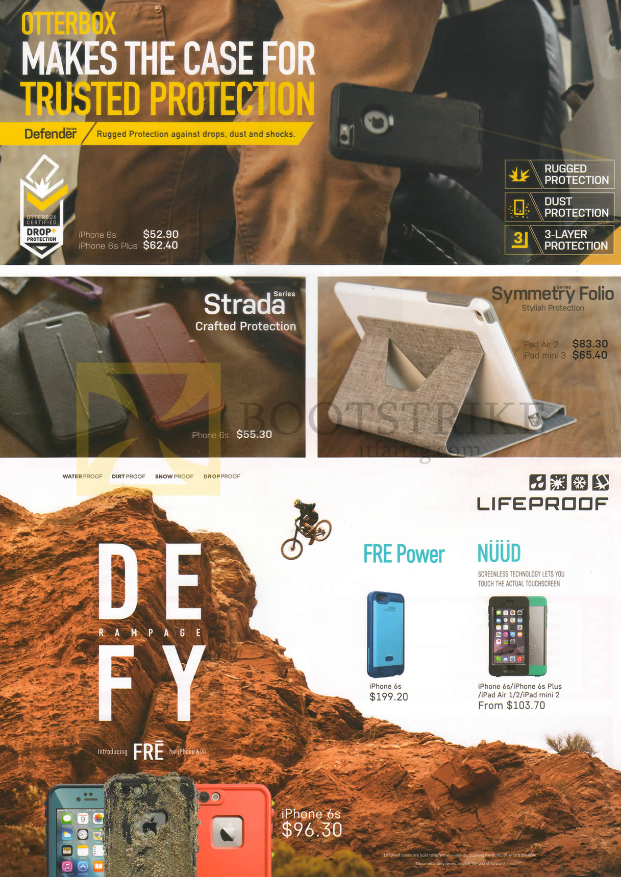 SITEX 2015 price list image brochure of Best Denki Otterbox Defender, Strada Series Protection Cover, Symmetry Folio, Lifeproof Defy Rampage, FRE Power, Nuud