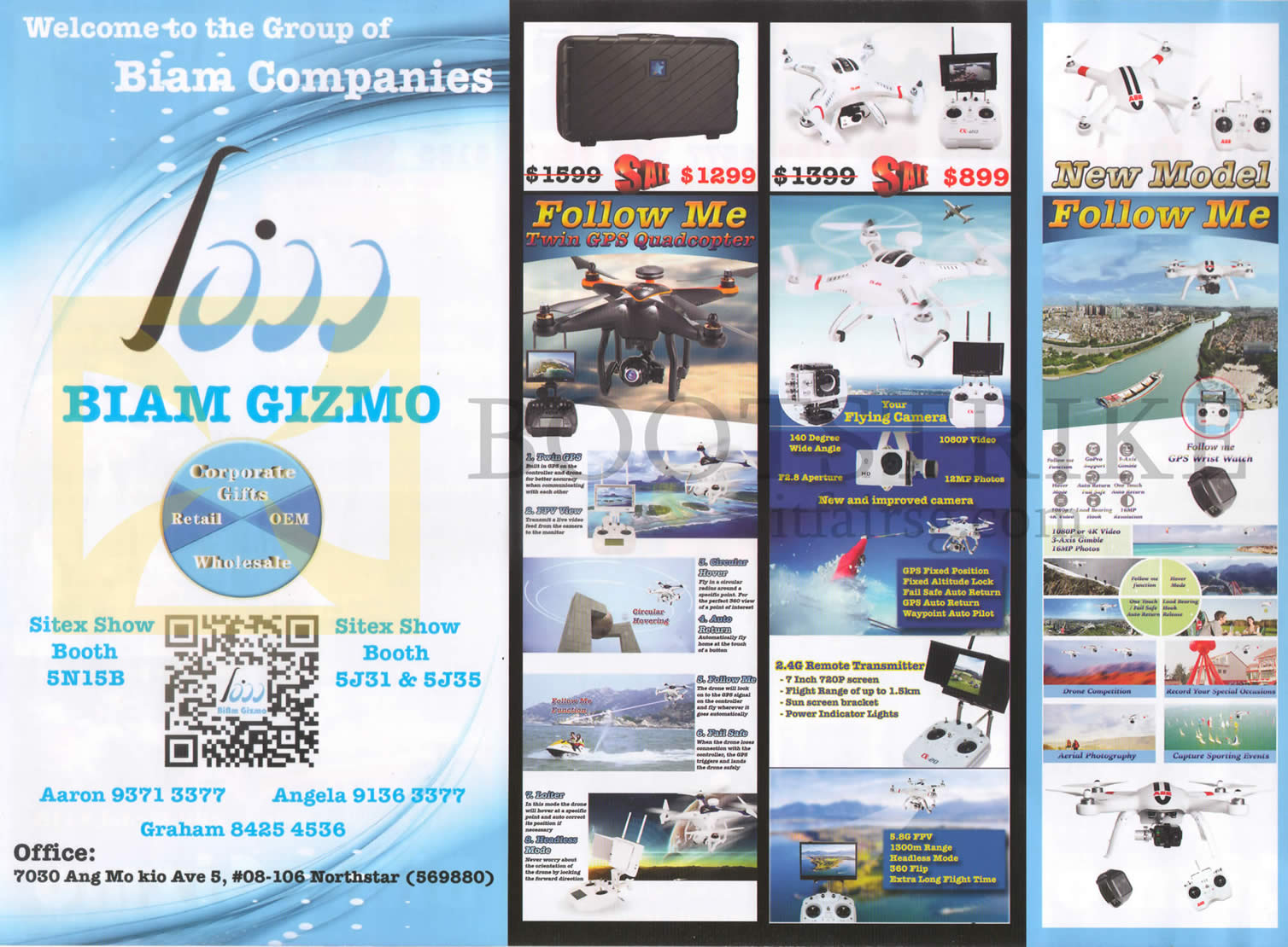 SITEX 2015 price list image brochure of Biam Gizmo Quadcopters Follow Me, Features