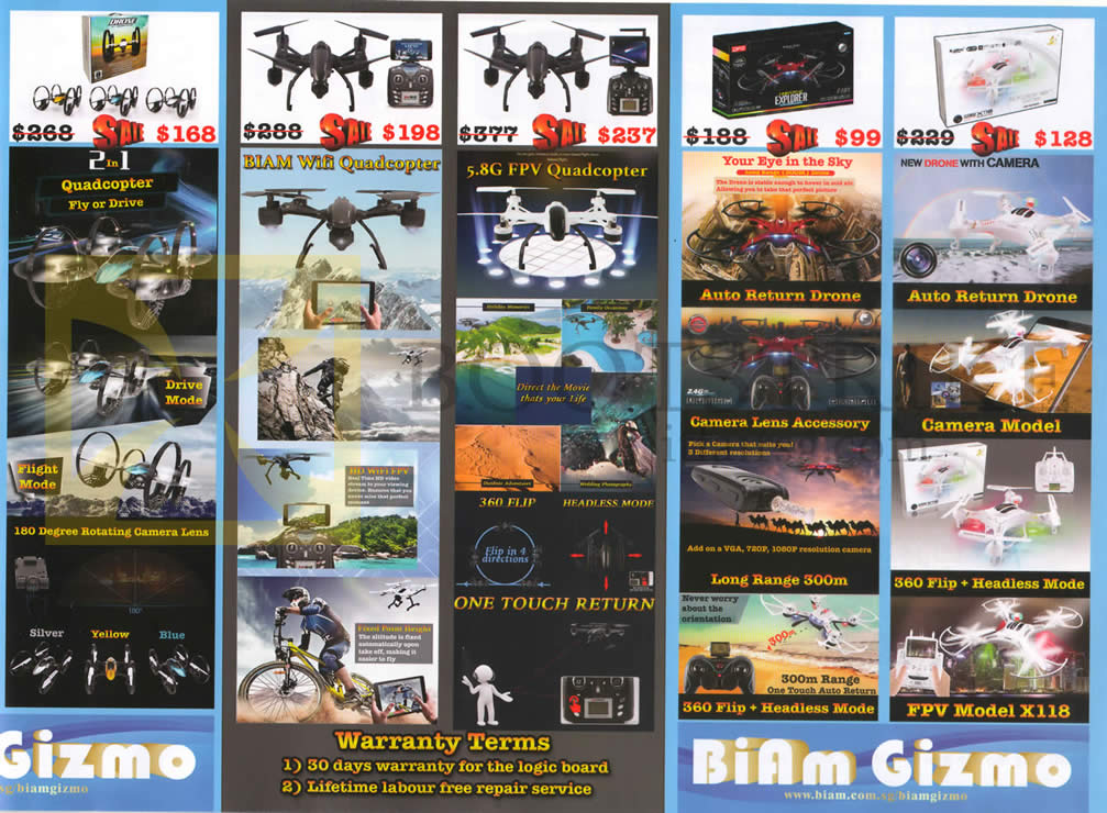 SITEX 2015 price list image brochure of Biam Gizmo Quadcopters, Biam Wifi, 5.8G FPV, FPV Model X118