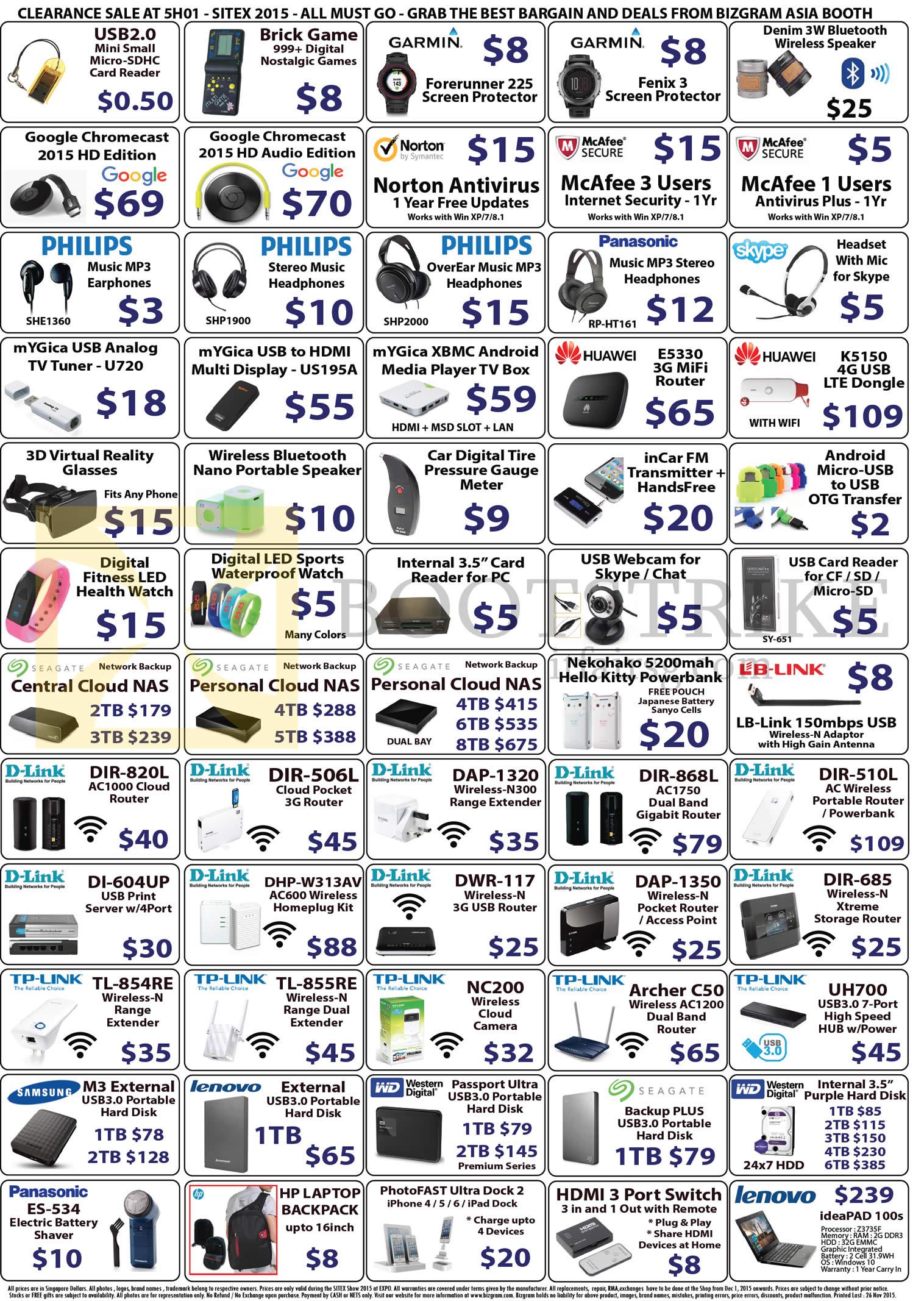 SITEX 2015 price list image brochure of Bizgram Accessories Card Reader, Brick Game, Wireless Speaker, Antivirus, Earphones, Headphones, Router, Dongle, Webcam, Fitness Health Watch, Router, Personal Cloud NAS, Powerbank