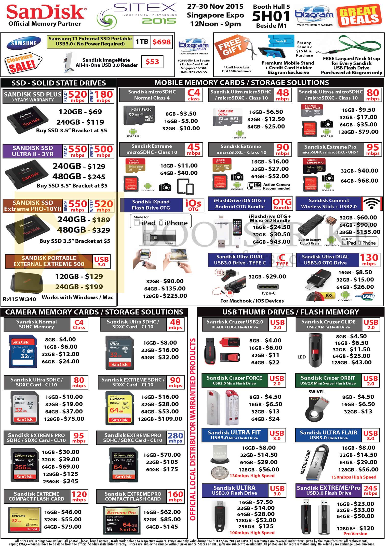 SITEX 2015 price list image brochure of Bizgram SSD, Memory Cards, Storage, USB Thumb Drives, Sandisk Plus, Ultra II, Extreme Pro, SDHC Memory, SDXC Card, Cruzer, Cruzer Force, Cruzer Glide, Ultra Fit, Ultra Flair