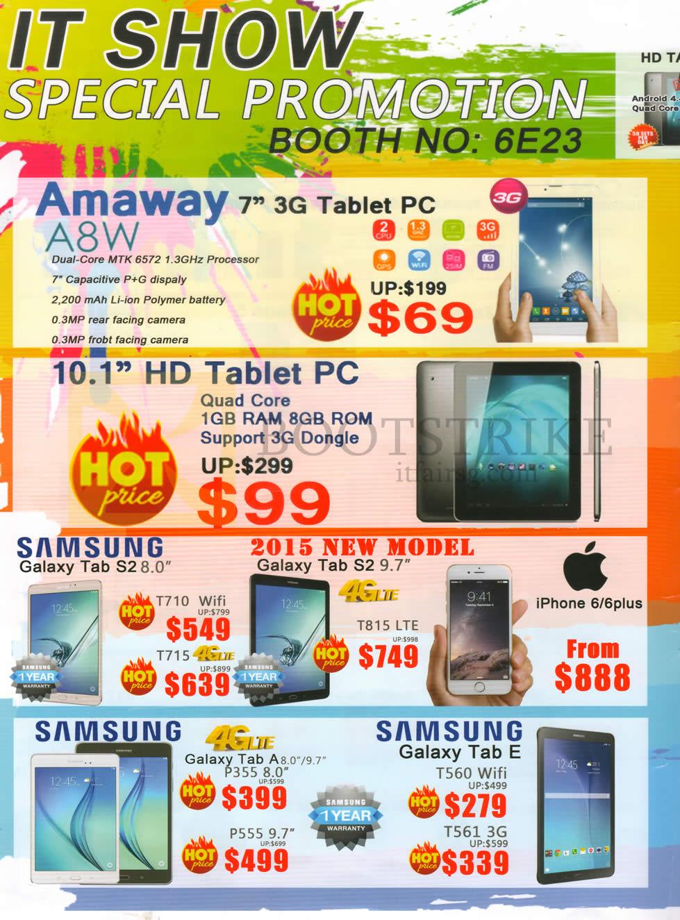 SITEX 2015 price list image brochure of CH2 Amaway 7.0, Samsung Galaxy Tab S2 8.0, S2 9.7, Galaxy Tab A 8.0, 9.7, P3555, Tab E T560 Wifi, T561