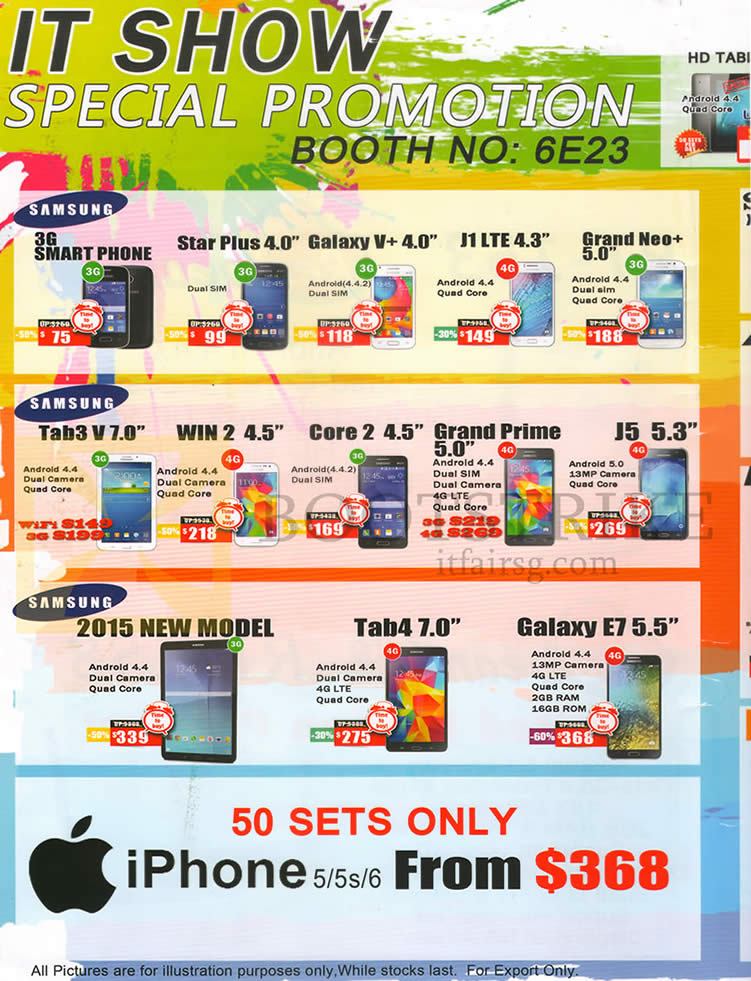 SITEX 2015 price list image brochure of CH2 Mobile Phones Samsung Star Plus 4.0, Galaxy V Plus, J1, Grand Neo Plus 5.0, Tab 3 V 7.0, Win 2 4.5, Core 2 4.5, Grand Prime 5.0, J5 5.3, Tab 4 7.0, Galaxy E7 5.5, Apple IPhone 5, 5s, 6