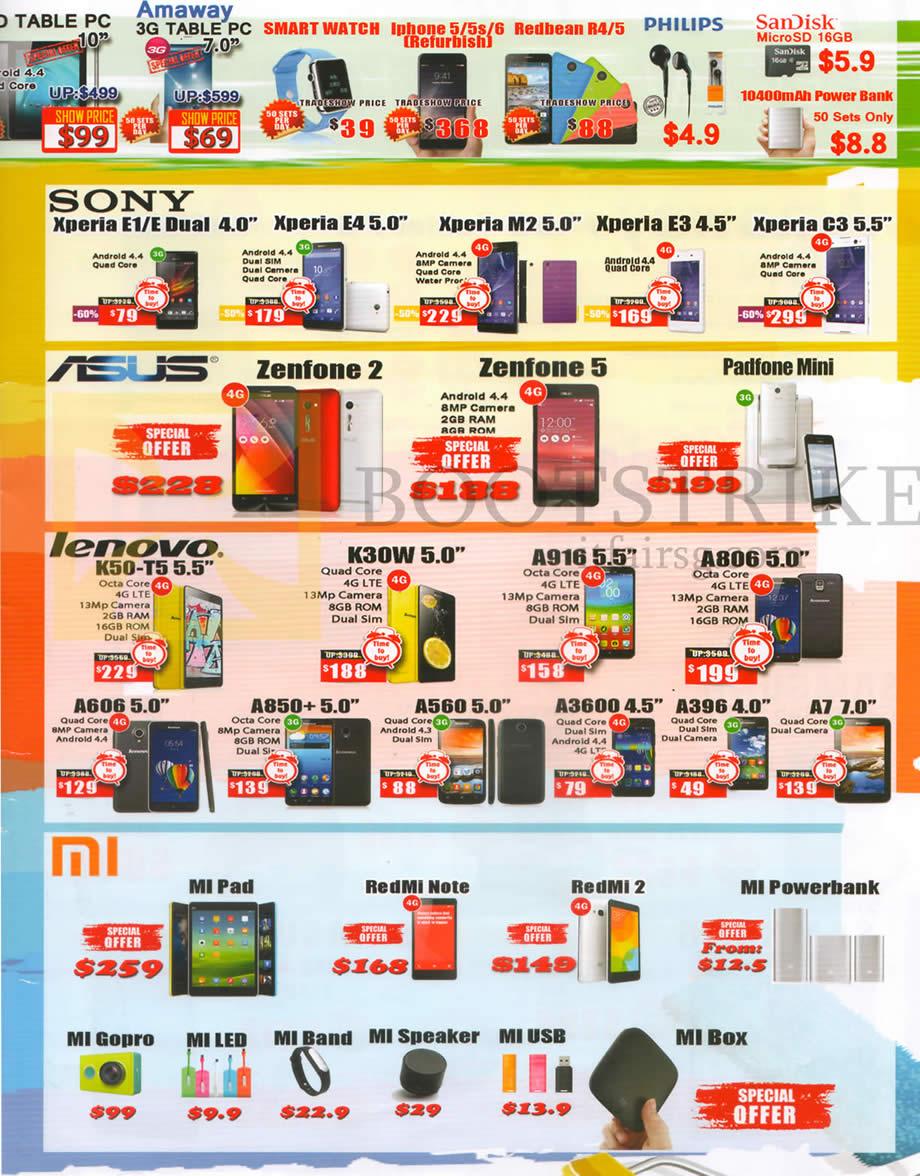 SITEX 2015 price list image brochure of CH2 Mobile Phones Sony, Asus, Lenovo, Mi, Xperia E1, E Dual 4.0, E4 5.0, M2 5.0, E3 4.5, Zenfone 2, 5, Padfone Mini, K50-T5 5.5, K30W 5.0, A916 5.5, A806 5.0, Mi Pad, RedMi Note, Mi Powerbank