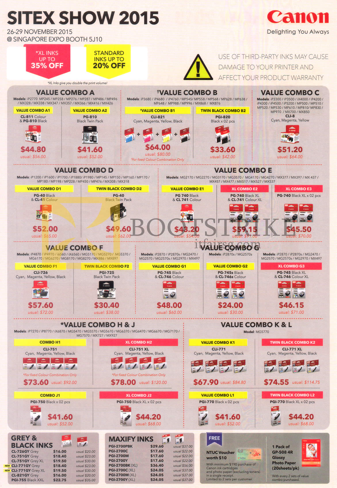 SITEX 2015 price list image brochure of Canon Cartridges Value Combos A, B, C, D, E, F, G, H, J, K, L, Grey, Black Inks, Maxify Inks