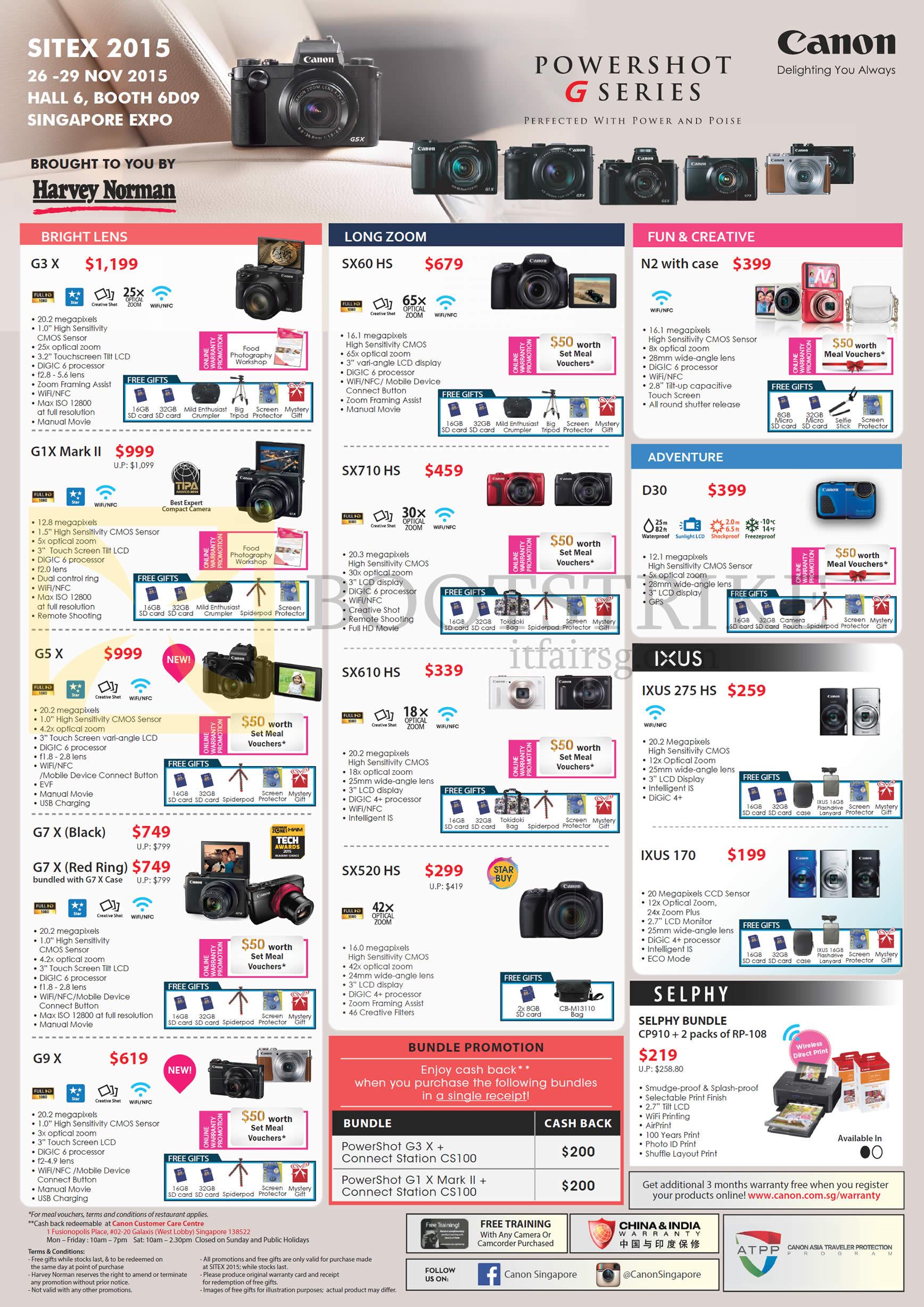 Canon Digital Cameras, G3 X, G1X Mark II, G5 X, G7 X, G9 X, Long Zoom, SX60 HS, SX710 HS, SX610 HS, SX520 HS, N2, D30, IXUS 275 HS, 170, Selphy Bundle