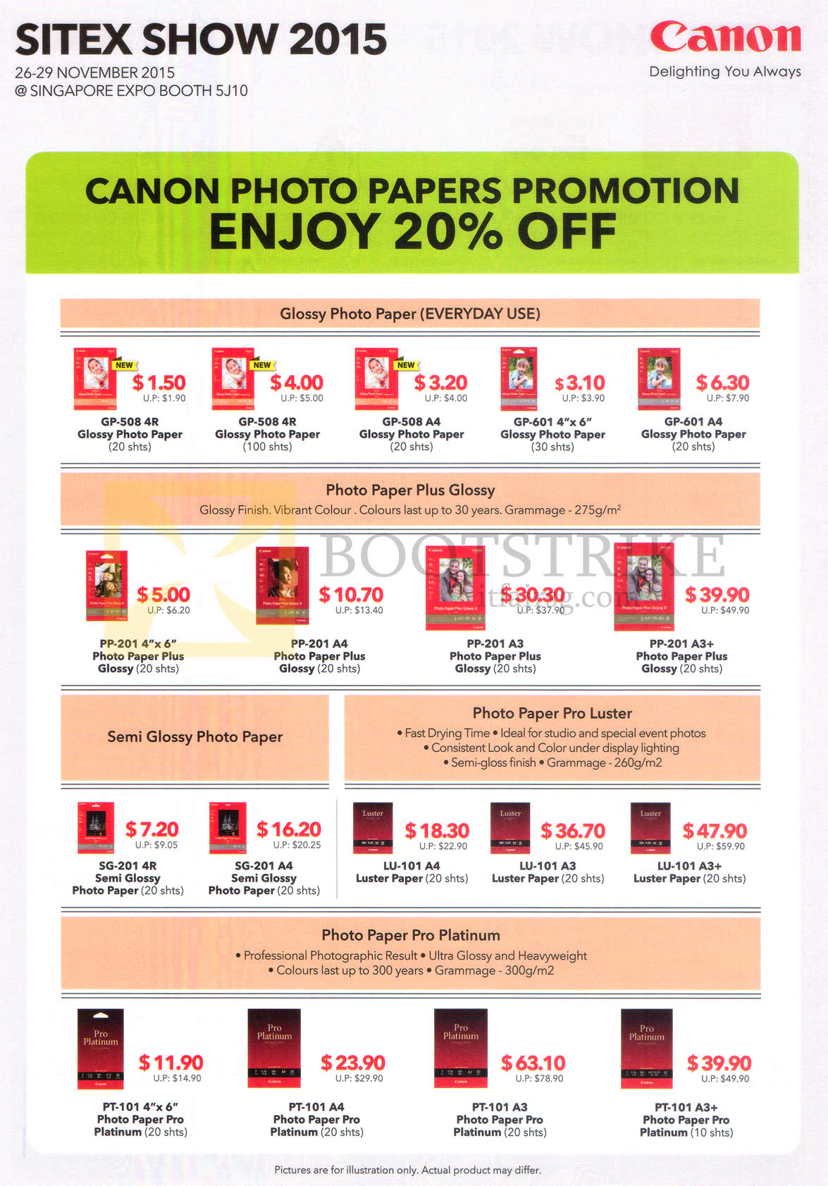 SITEX 2015 price list image brochure of Canon Photo Papers Promotion 20 Percent Off, Glossy, Semi Glossy Photo Paper, Photo Paper Pro Luster, Pro Platinum