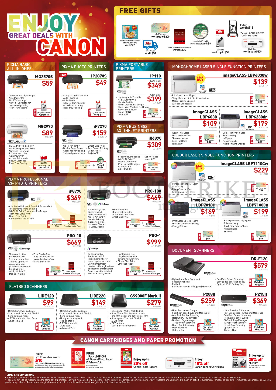 SITEX 2015 price list image brochure of Canon Printers ImageCLASS MF8580Cdw 628CW 8210Cn, MB5070 5370, IB4070, MF3010, MF221d, MF215, MF212w, MF217w, MF226dn, MF6180dw, MF229dw, MG3670, MG5770, MG7570, MX497, MX727