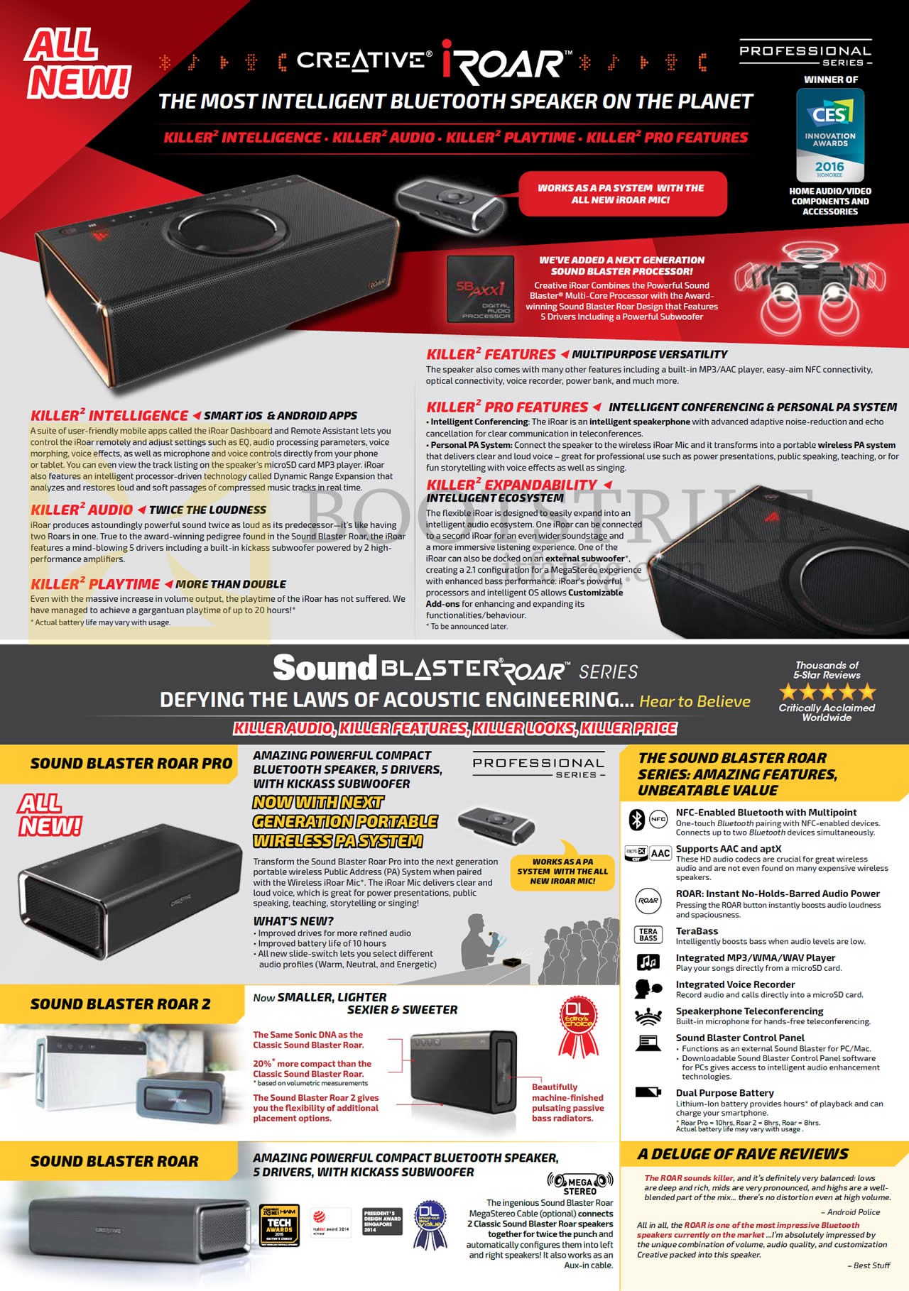 SITEX 2015 price list image brochure of Creative Bluetooth Speakers Sound Blaster Roar Pro, Roar, Roar 2
