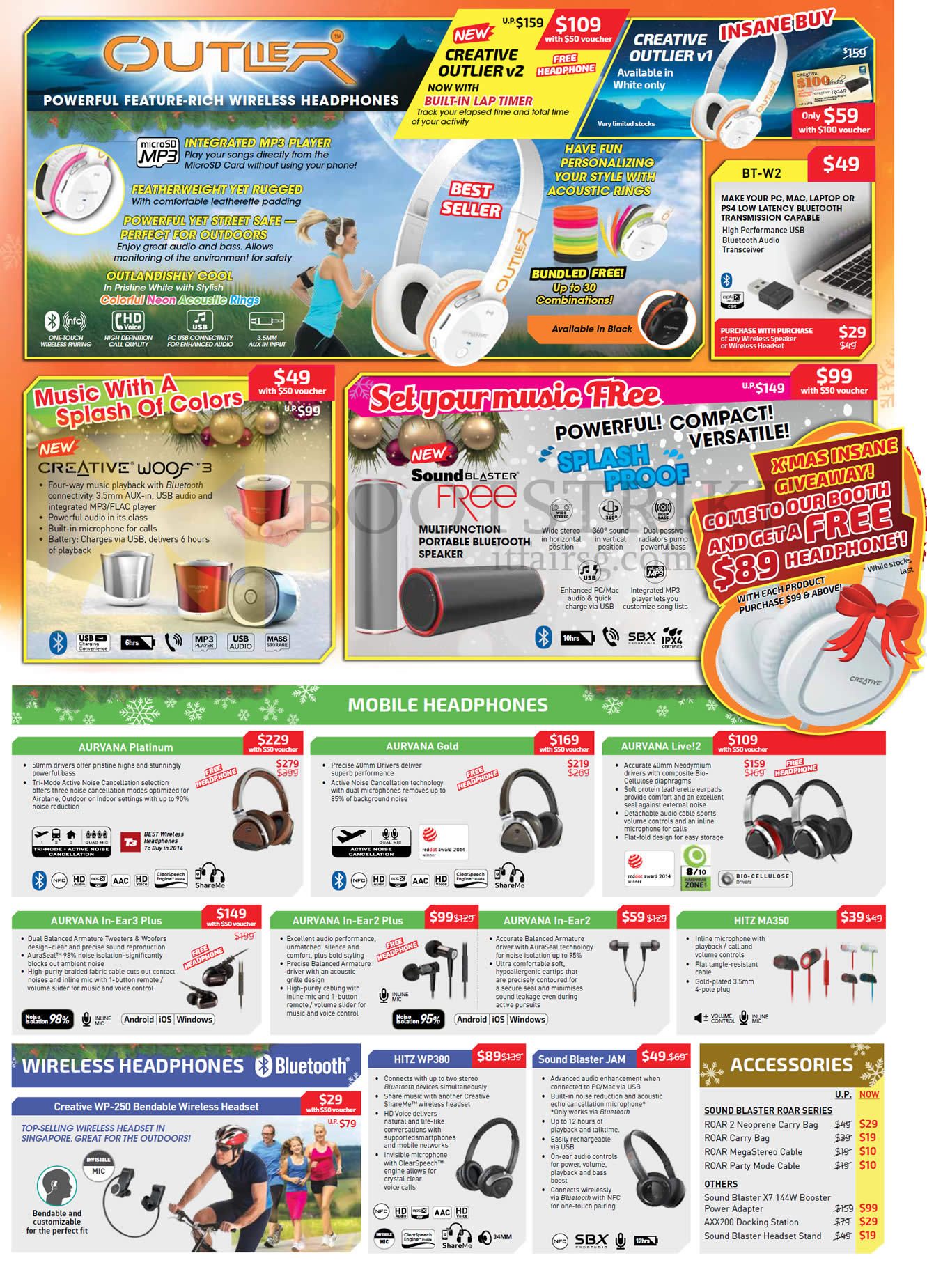 SITEX 2015 price list image brochure of Creative Headphones, Bluetooth Speakers, Accessories, Outlier V1, Woof 3, Sound Blaster Free, Aurvana Platinum, Gold, Live 2, In Ear 3 Plus, Hitz MA350