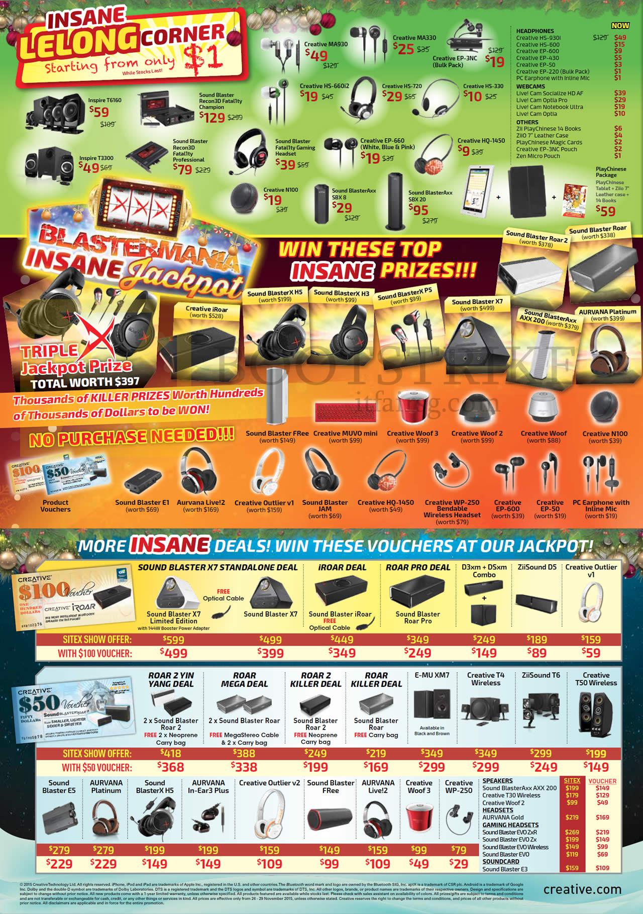 SITEX 2015 price list image brochure of Creative Lelong Corner, Earphones, Headphones, Speakers, Webcams, Voucher Deals