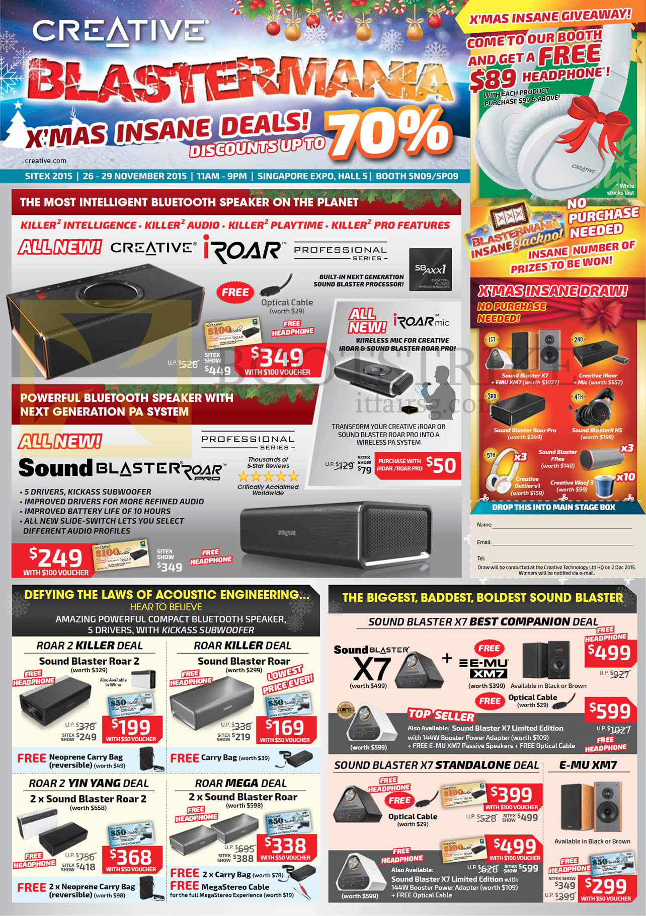 SITEX 2015 price list image brochure of Creative Speakers, Sound Blaster Roar, Roar Pro, IRoar, IRoar Mic, X7 Standalone Deal