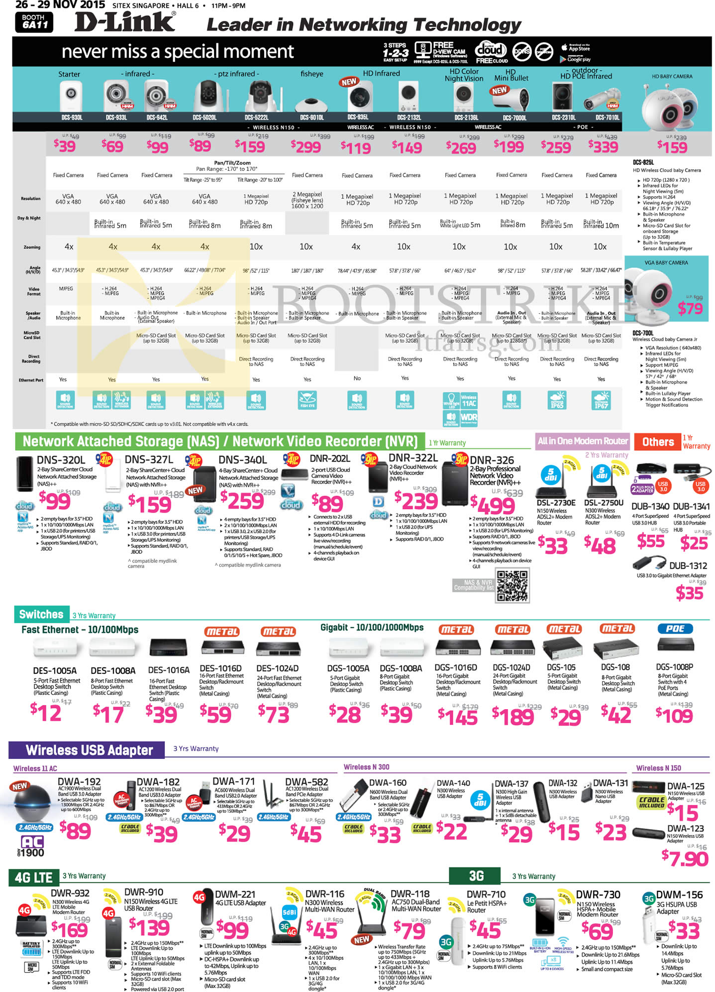 SITEX 2015 price list image brochure of D-Link IP Cameras, NAS, NVR, AIO Modem Router, Switches, Wireless USB Adapter, DNS-320L 327L 202L, DES-1005A 1008A 1016A DGS-1005A 1008A 1016D, DWA-192 182 171
