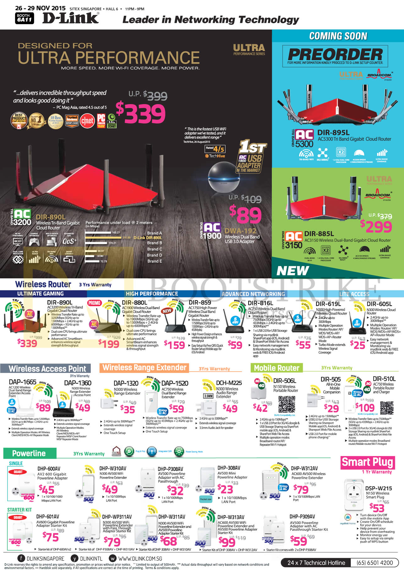 SITEX 2015 price list image brochure of D-Link Networking Wireless Routers, Access Point, Range Extender, Mobile Router, Powerline, Smart Plug, DIR-890L 880L 859 816, 619L DAP-1665 1360 1320 1520, DIR-506L 505 510L