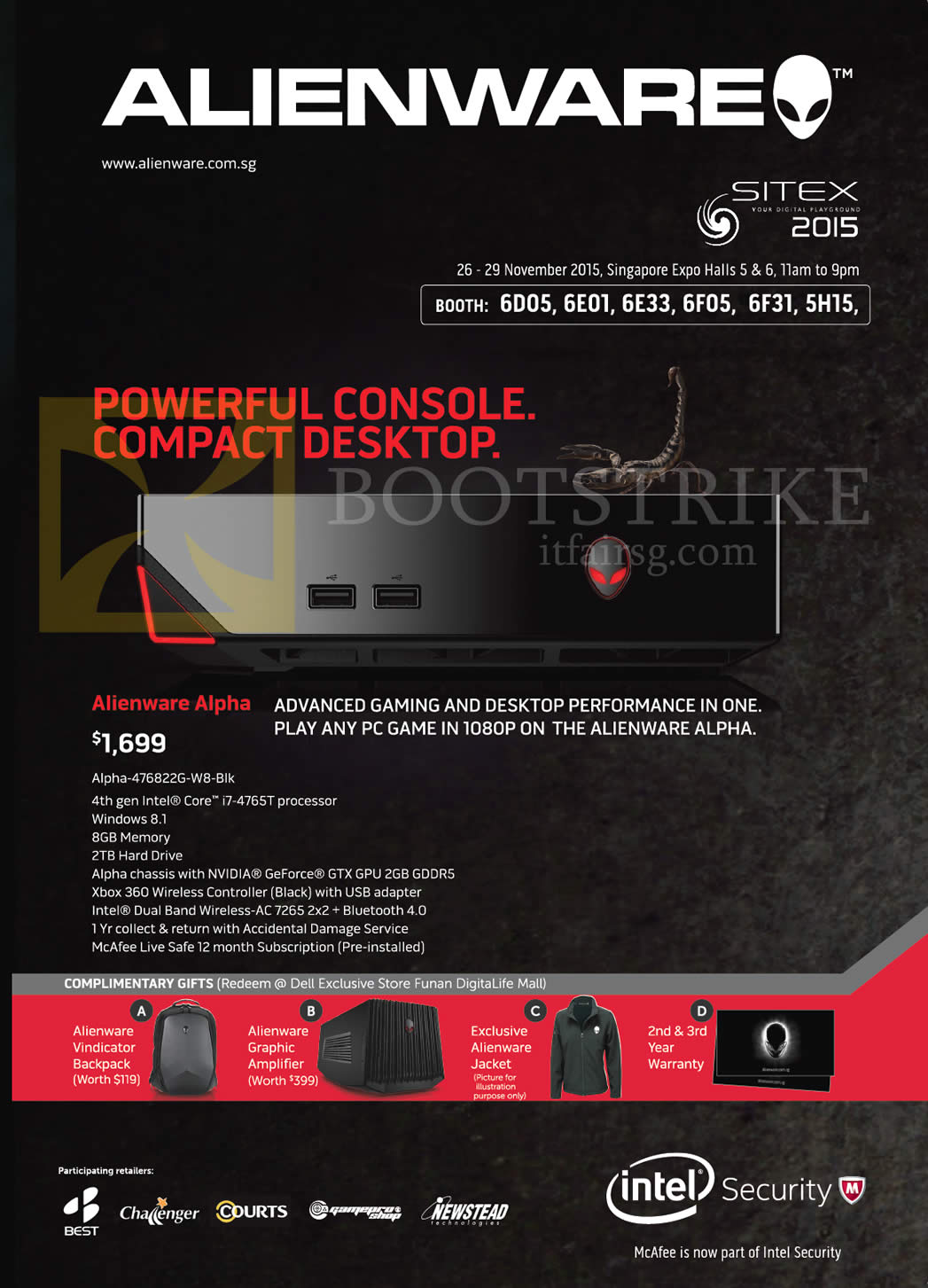 SITEX 2015 price list image brochure of Dell Alienware Alpha-476822G-W8-Blk, Complimentary Gifts, Alienware Vindicator Backpack, Graphic Amplifier, Jacket, 2nd N 3rd Year Warranty