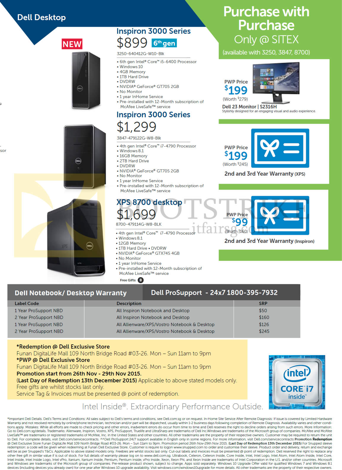 SITEX 2015 price list image brochure of Dell Desktop PCs Inspiron, 3250-640412G-W10-Blk, 3847-479122G-W8-Blk, 8700-479114G-W8-BLK, Purchase With Purchase, 23 Monitor S2316H, 2nd And 3rd Year Warranty