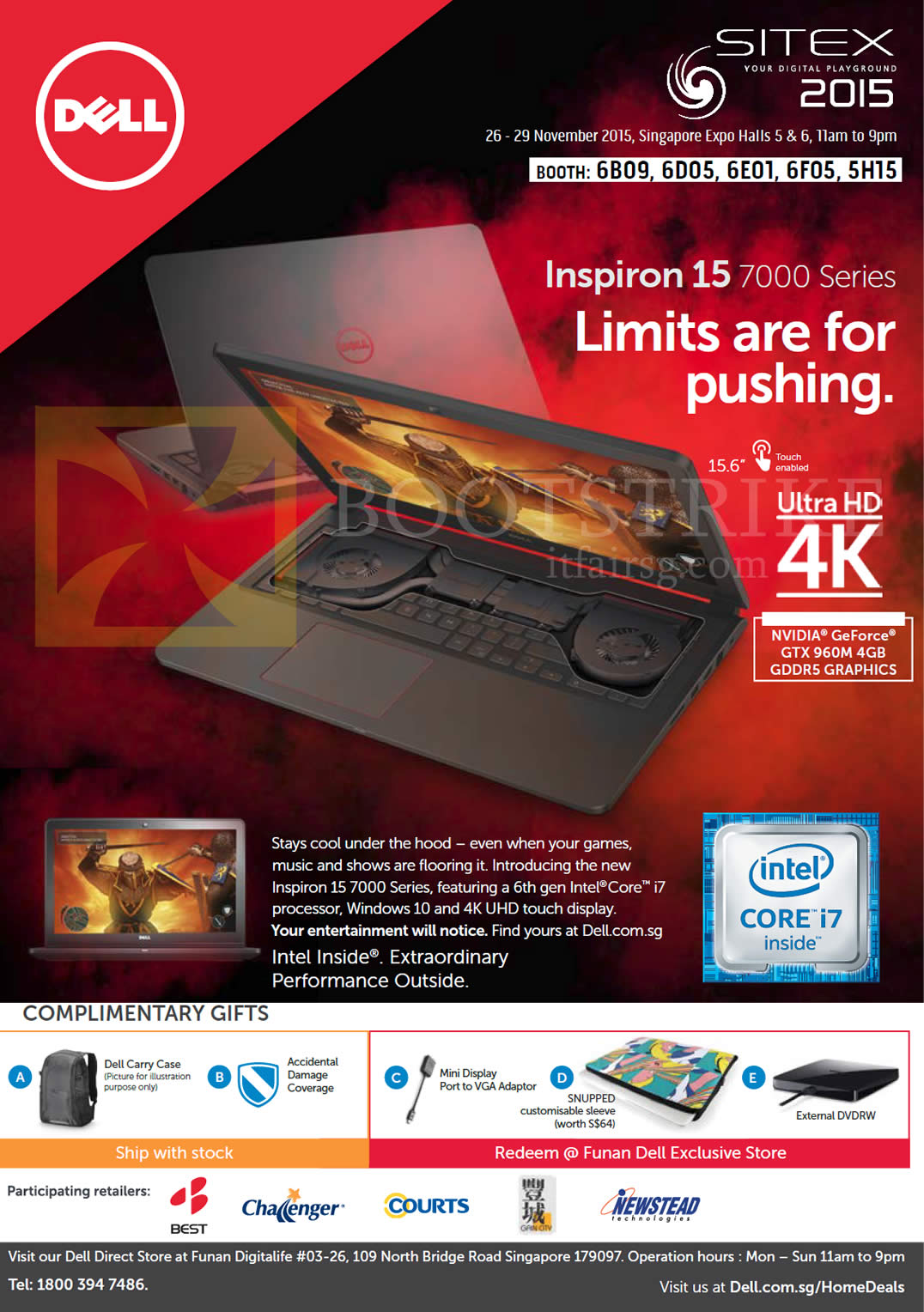 SITEX 2015 price list image brochure of Dell Inspiron 15 7000 Series Notebook, Complimentary Gifts, Dell Carry Case, Accidental Damage Coverage, Mini Display Port To VGA Adaptor, Snupped Customisable Sleeve, External DVDRW