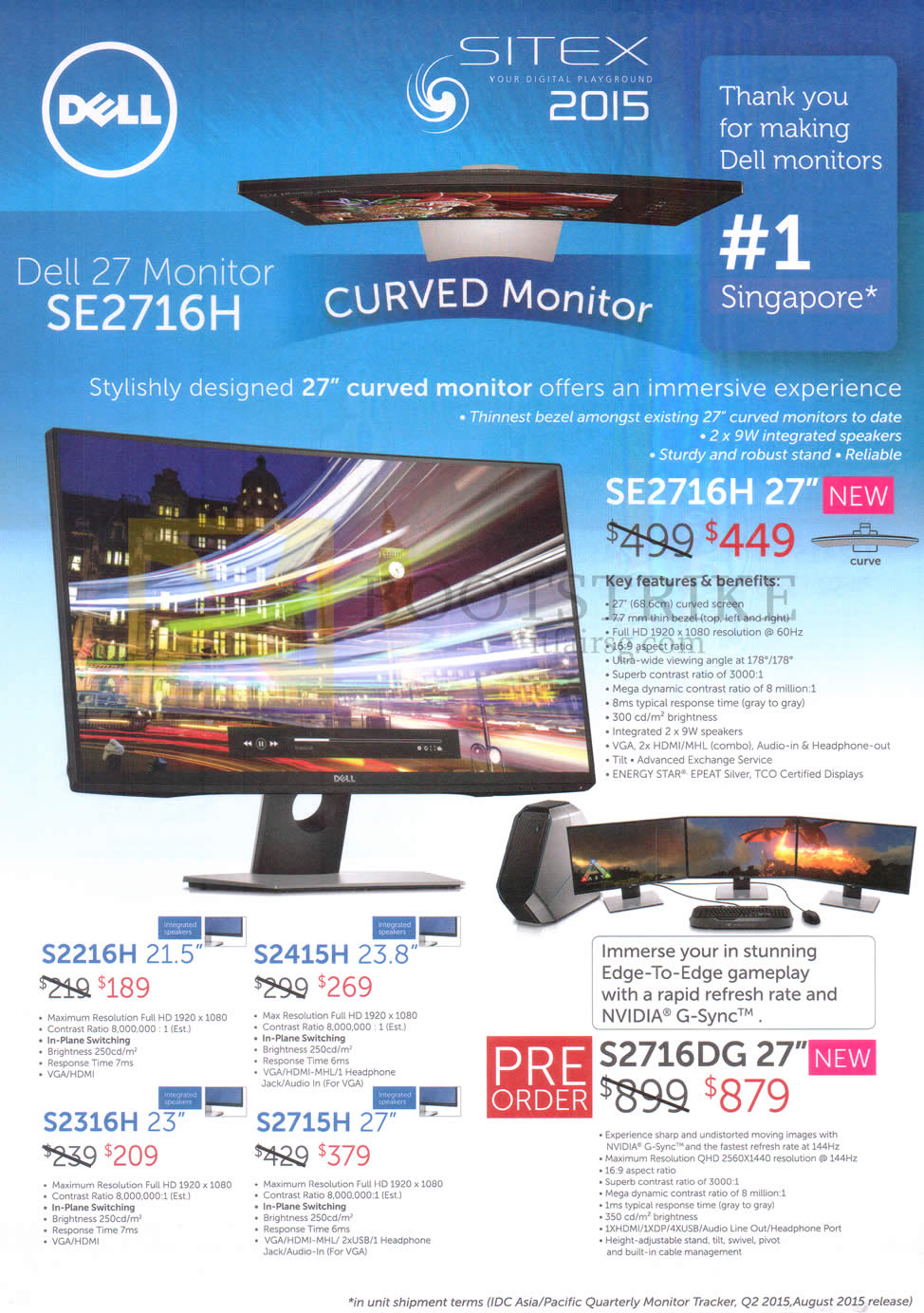 SITEX 2015 price list image brochure of Dell Monitors SE2716H, SE2216H, S2415H, S2316H, S2715H, S2716DG