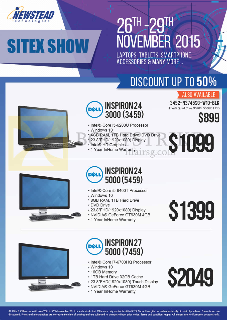 SITEX 2015 price list image brochure of Dell Newstead AIO Desktop PCs Inspiron 24 3000 3459 6200U, 24 5000 5459 6400T, 27 5000 7459 6700HQ
