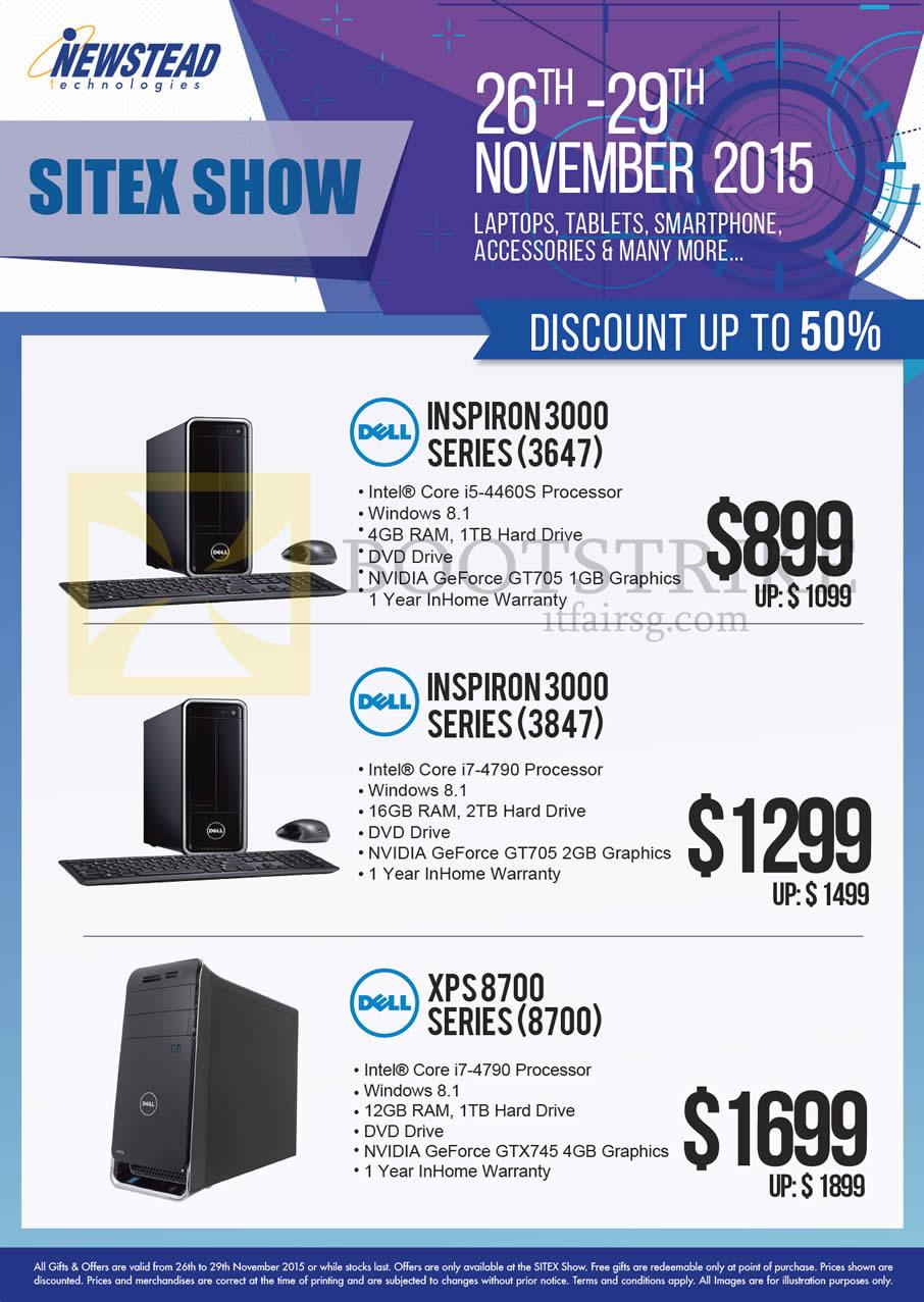 SITEX 2015 price list image brochure of Dell Newstead Desktop PCs Inspiron 3000 3647 4460S, 3000 3847 4790, XPS 8700 8700 4790