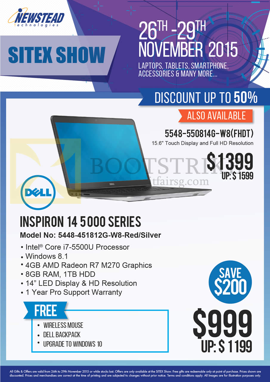SITEX 2015 price list image brochure of Dell Newstead Notebooks Inspiron 14 5000 SERIES 5448-451812G-W8, 5548-550814G-W8